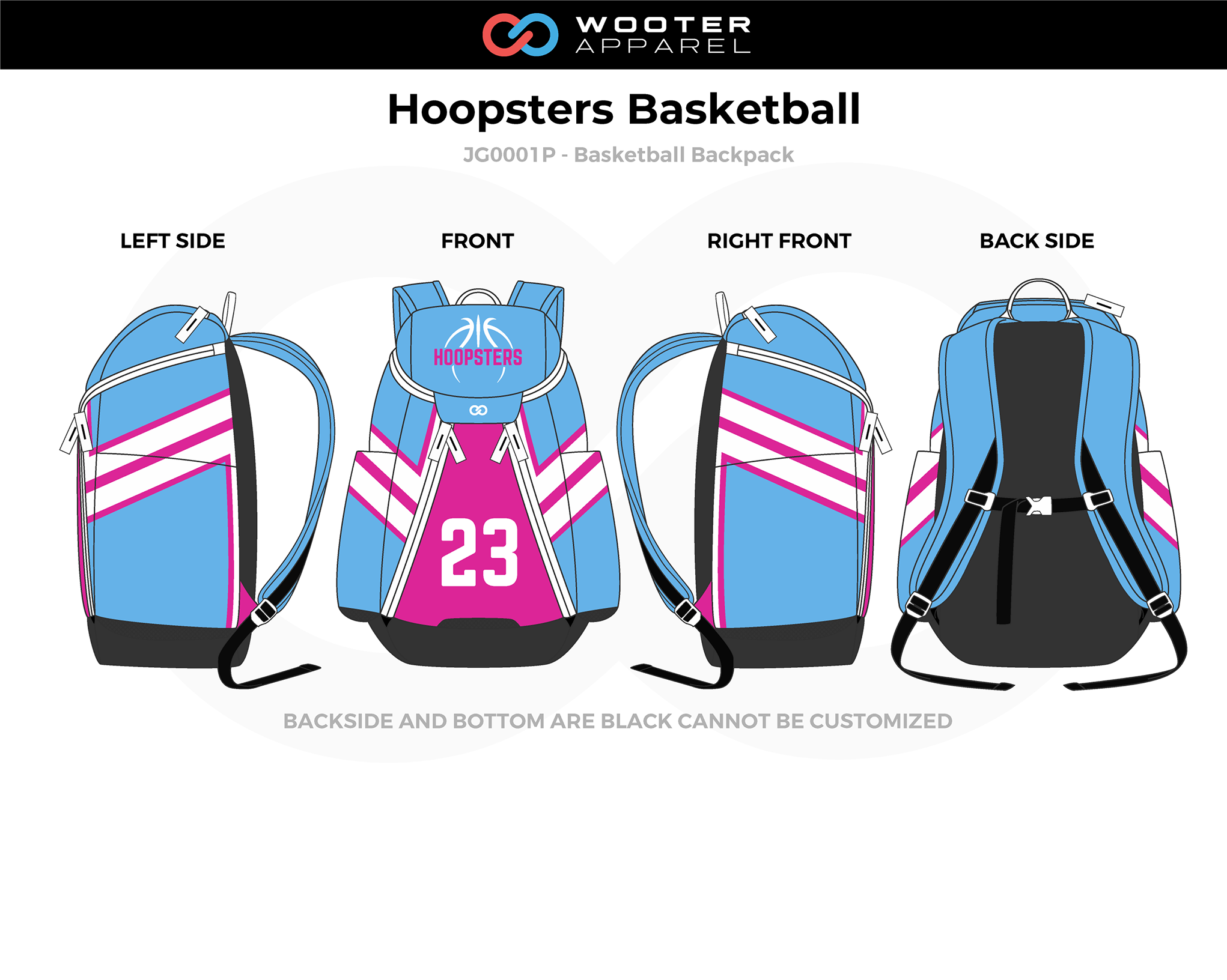 HOOPSTERS Blue Pink White Black Basketball Backpack