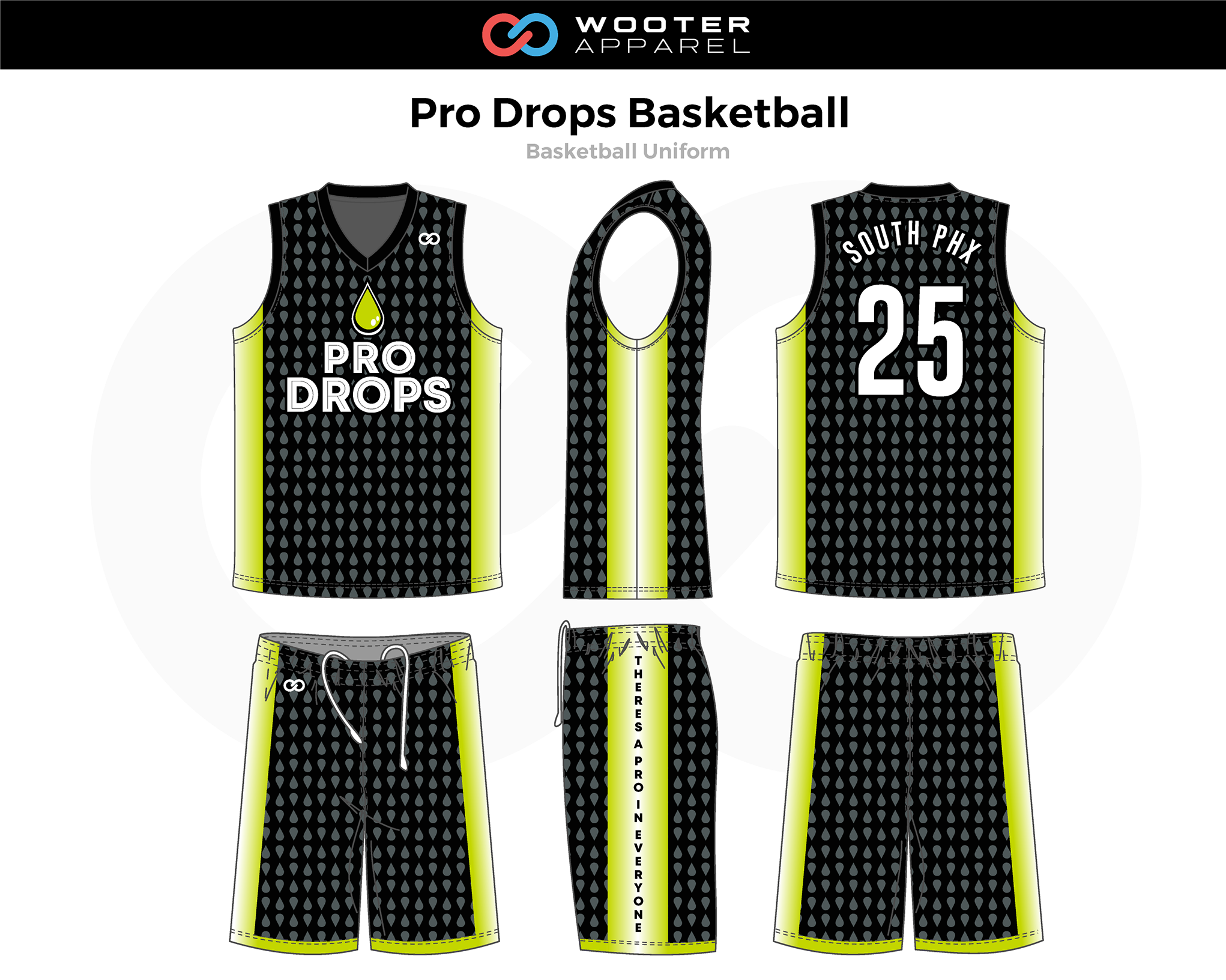 PRO DROPS Black Yellow White Basketball Uniform, Jersey and Shorts