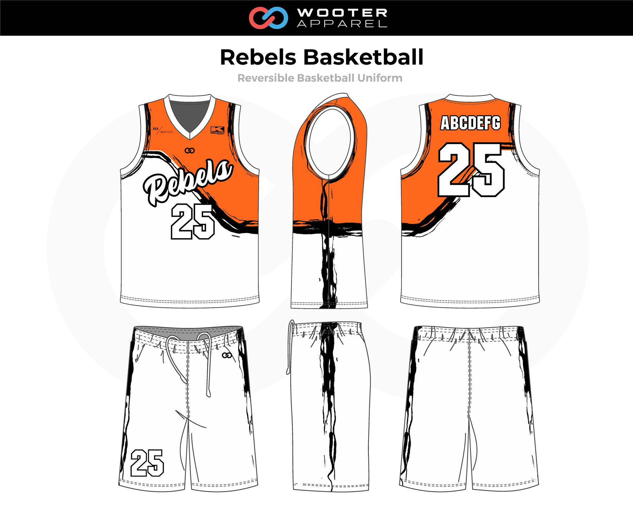 REBELS Orange White Black Reversible Basketball Uniform, Jersey and Shorts