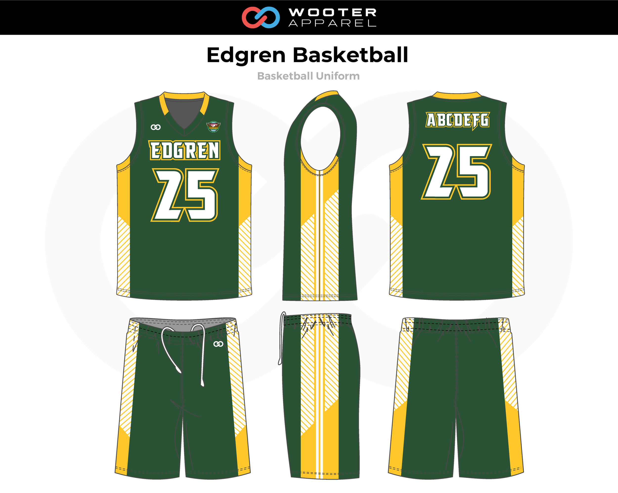 EDGREN Green White Yellow Basketball Uniform, Jersey and Shorts