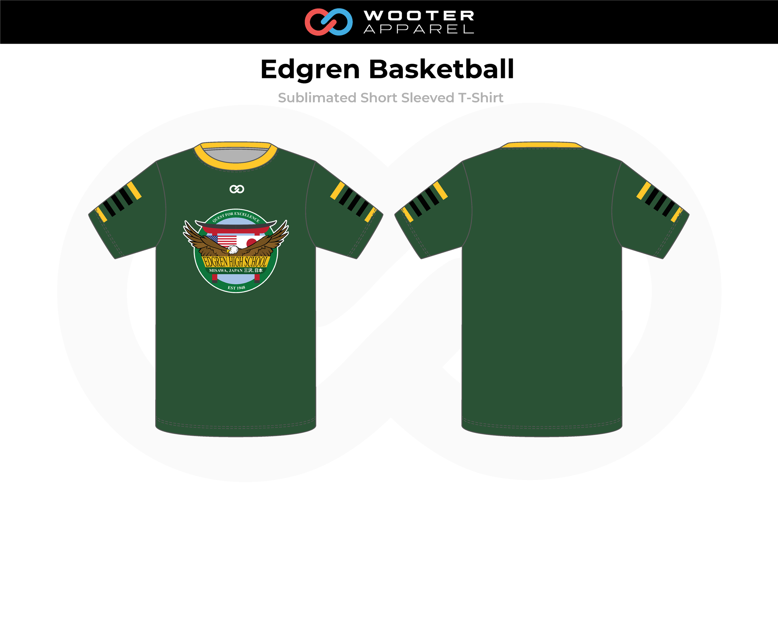 EDGREN Green Yellow Black Basketball Short Sleeved T-Shirt