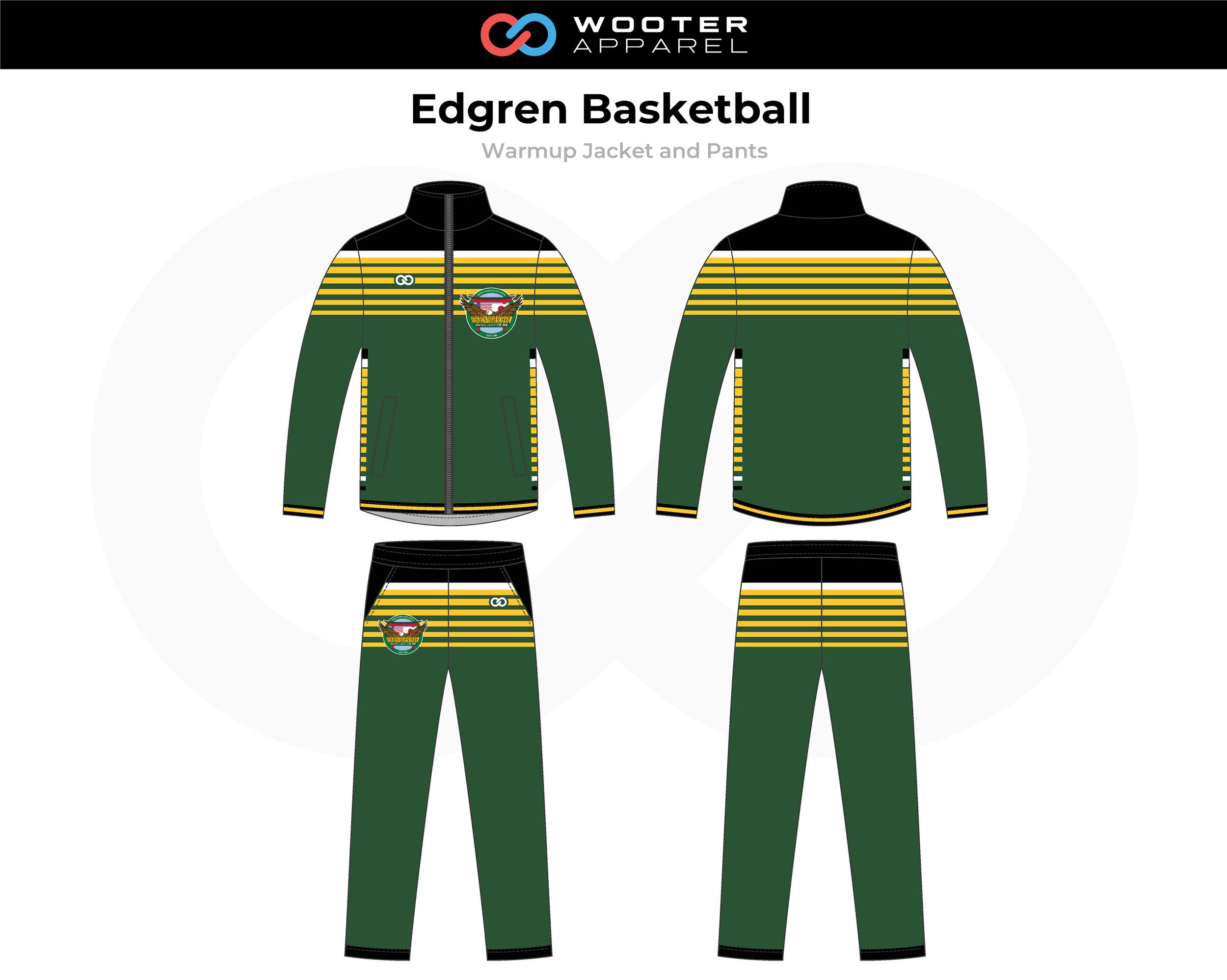 EDGREN Green Black Yellow Basketball Warmup Jacket and Pants
