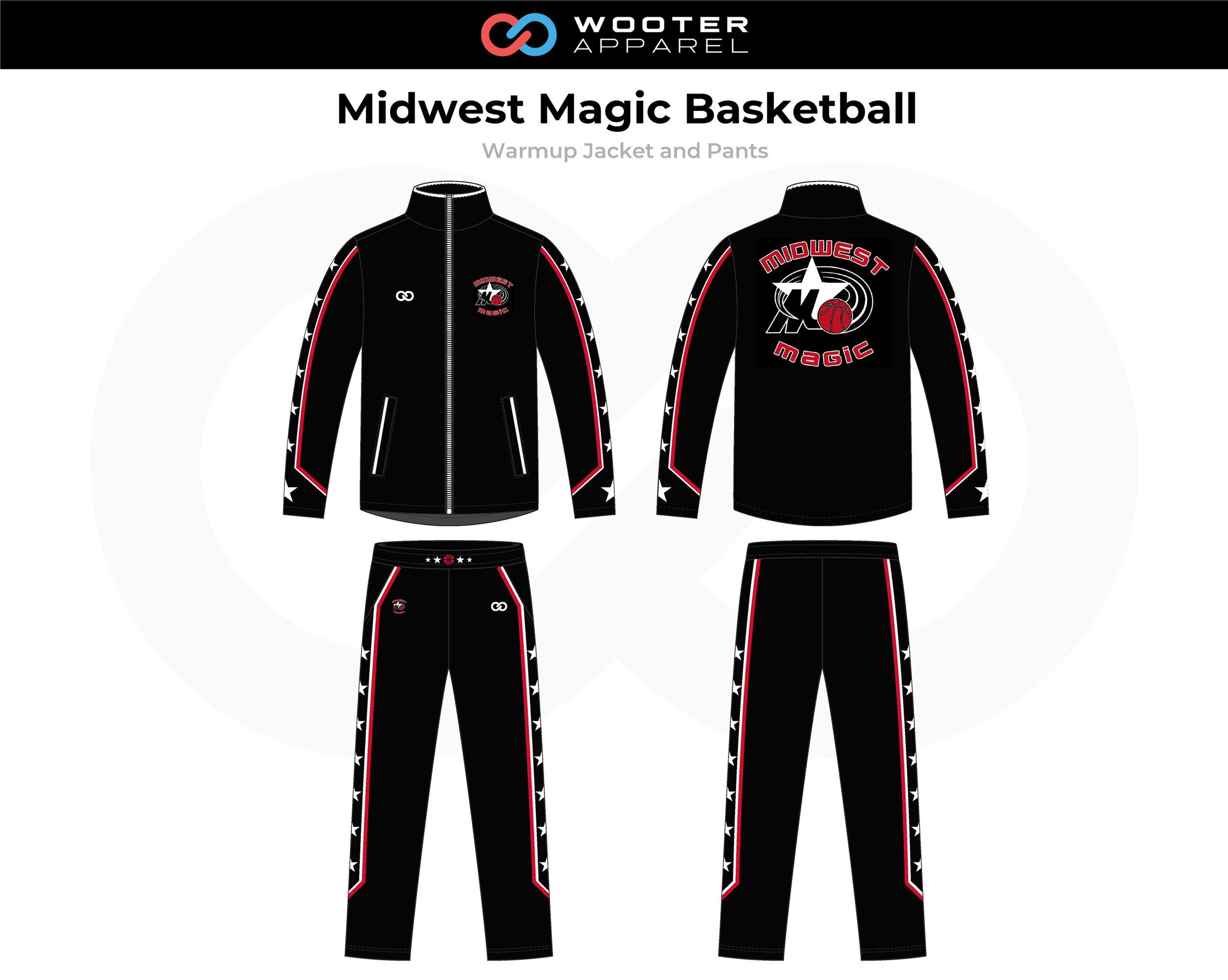 MIDWEST MAGIC Black Red White Basketball Warmup Jacket and Pants