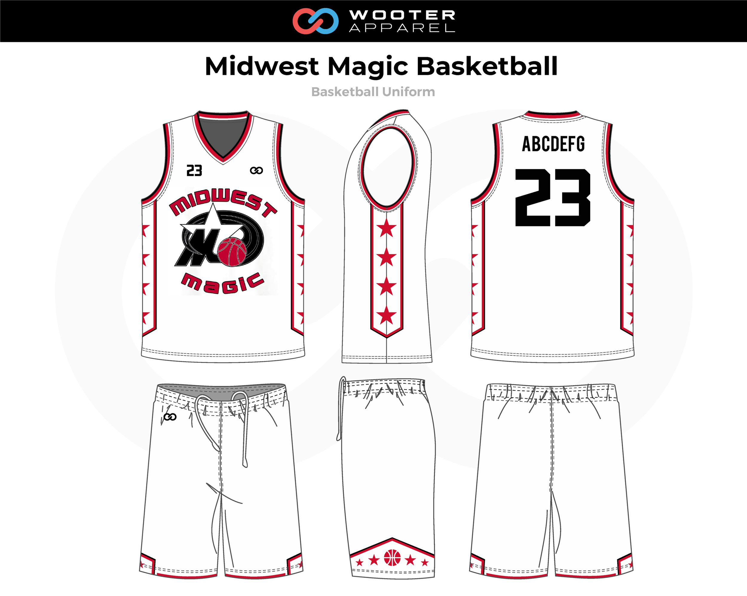 MIDWEST MAGIC Black Red White Basketball Uniform, Jersey and Shorts