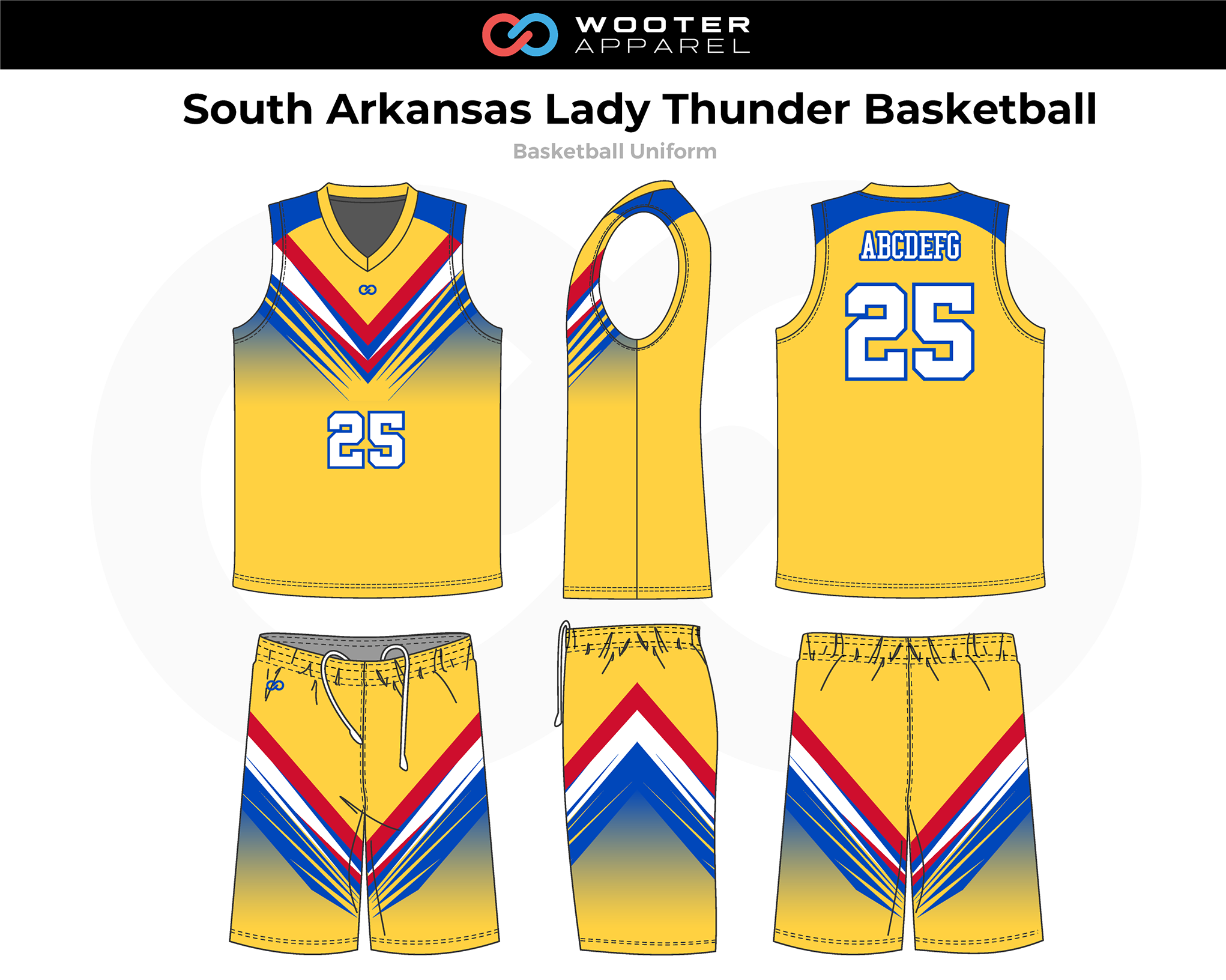 SOUTH ARKANSAS LADY THUNDER Yellow Blue White Red Basketball Uniform, Jersey and Shorts