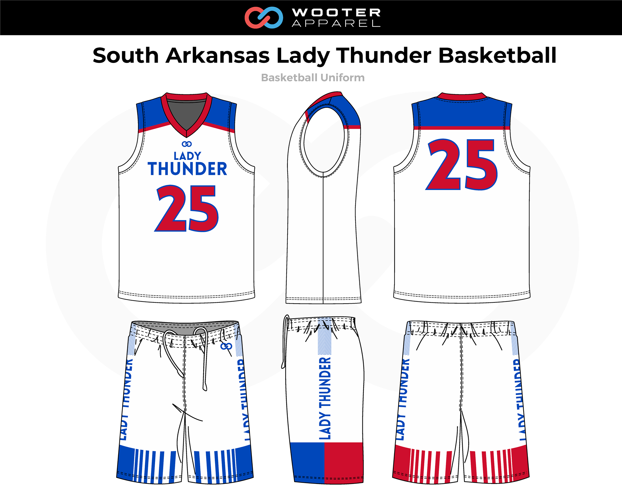 SOUTH ARKANSAS LADY THUNDER Blue White Red Basketball Uniform, Jersey and Shorts
