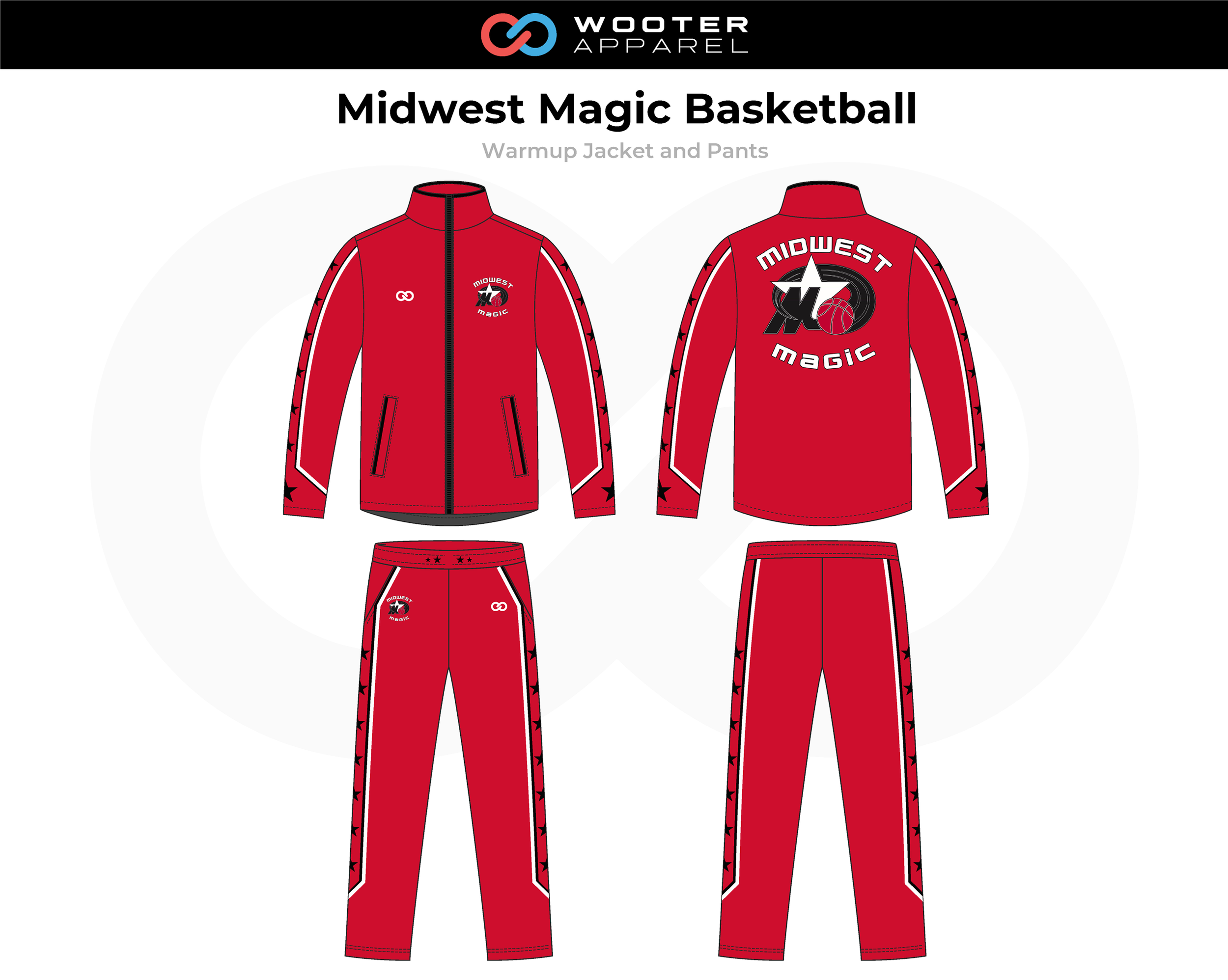 MIDWEST MAGIC Red Black White Basketball Warmup Jacket and Pants