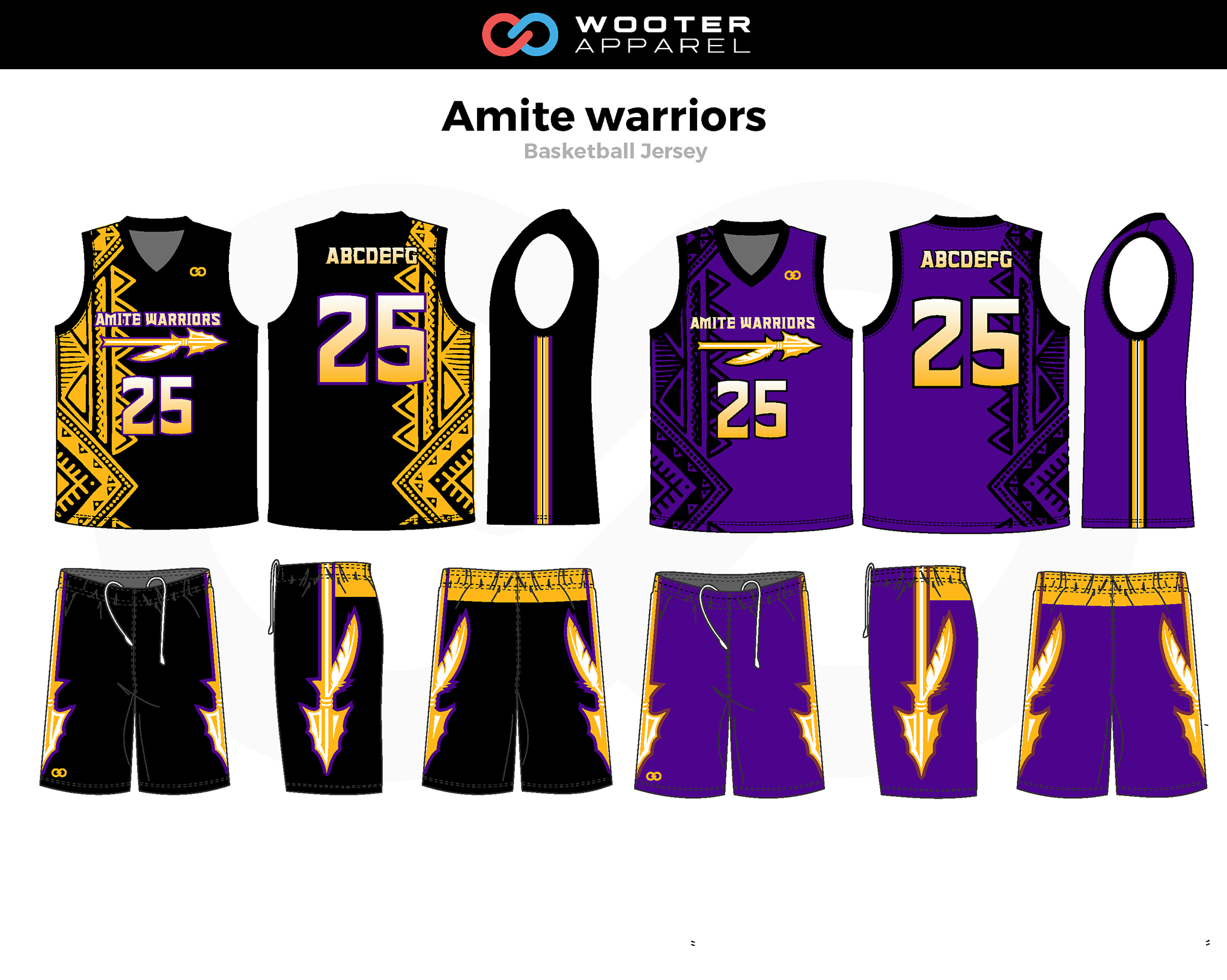 AMITE WARRIORS Black Yellow Lavender Basketball Uniform, Jersey and Shorts