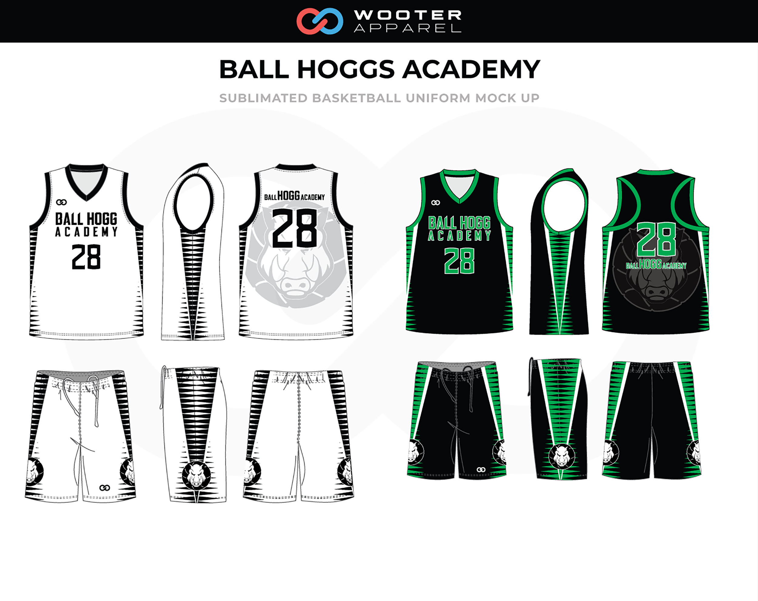 BALL HOGGS ACADEMY White Black Green Basketball Uniform, Jersey and Shorts