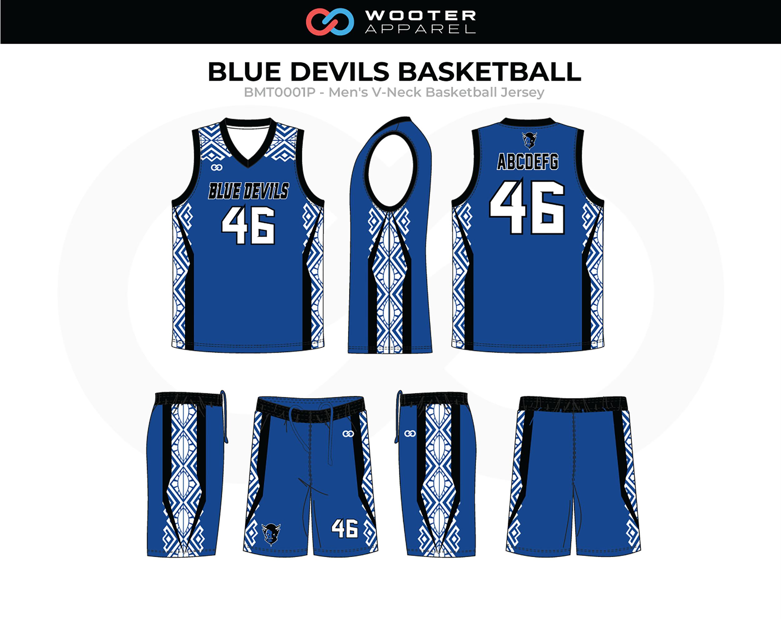 BLUE DEVILS Blue White Black Men's V-Neck Basketball Uniform, Jersey and Shorts