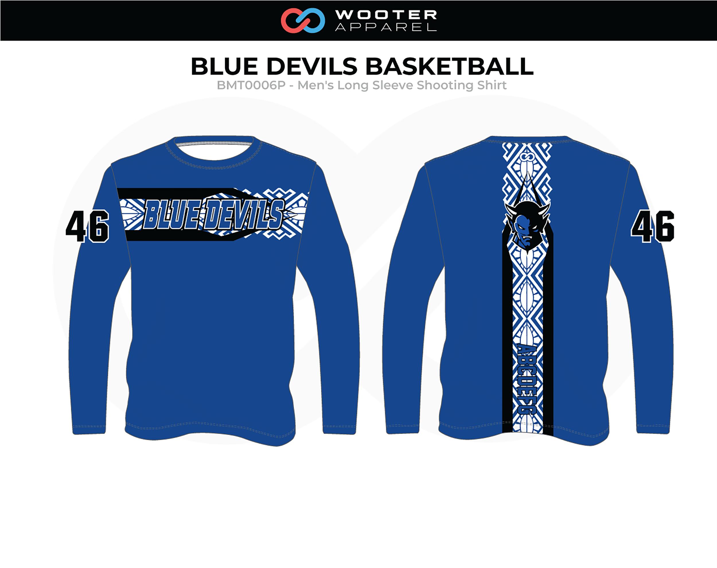 BLUE DEVILS Blue White Black Men's Long Sleeve Basketball Shooting Shirt