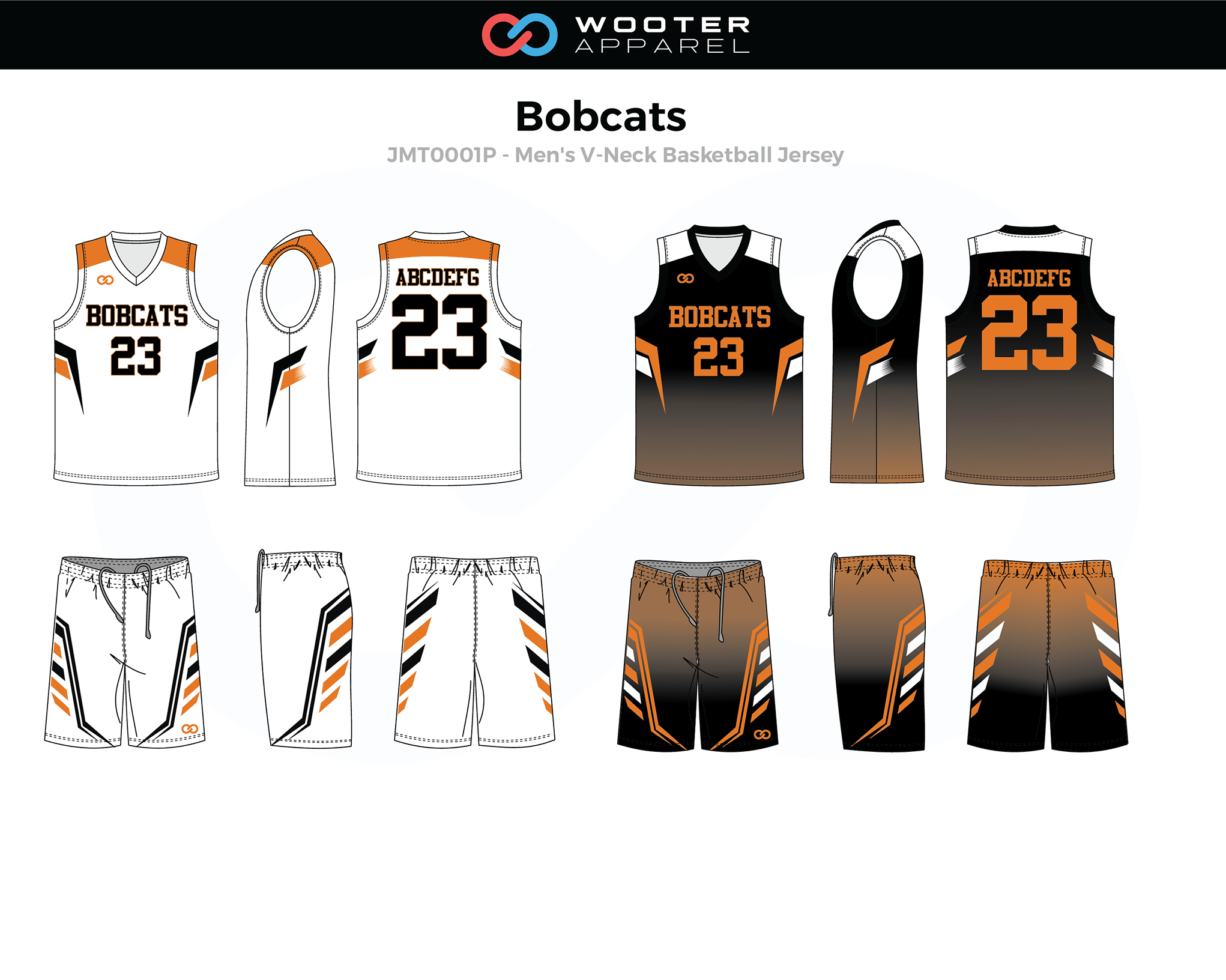 BOBCATS White Black Orange Men's V-Neck Basketball Uniform, Jersey and Shorts