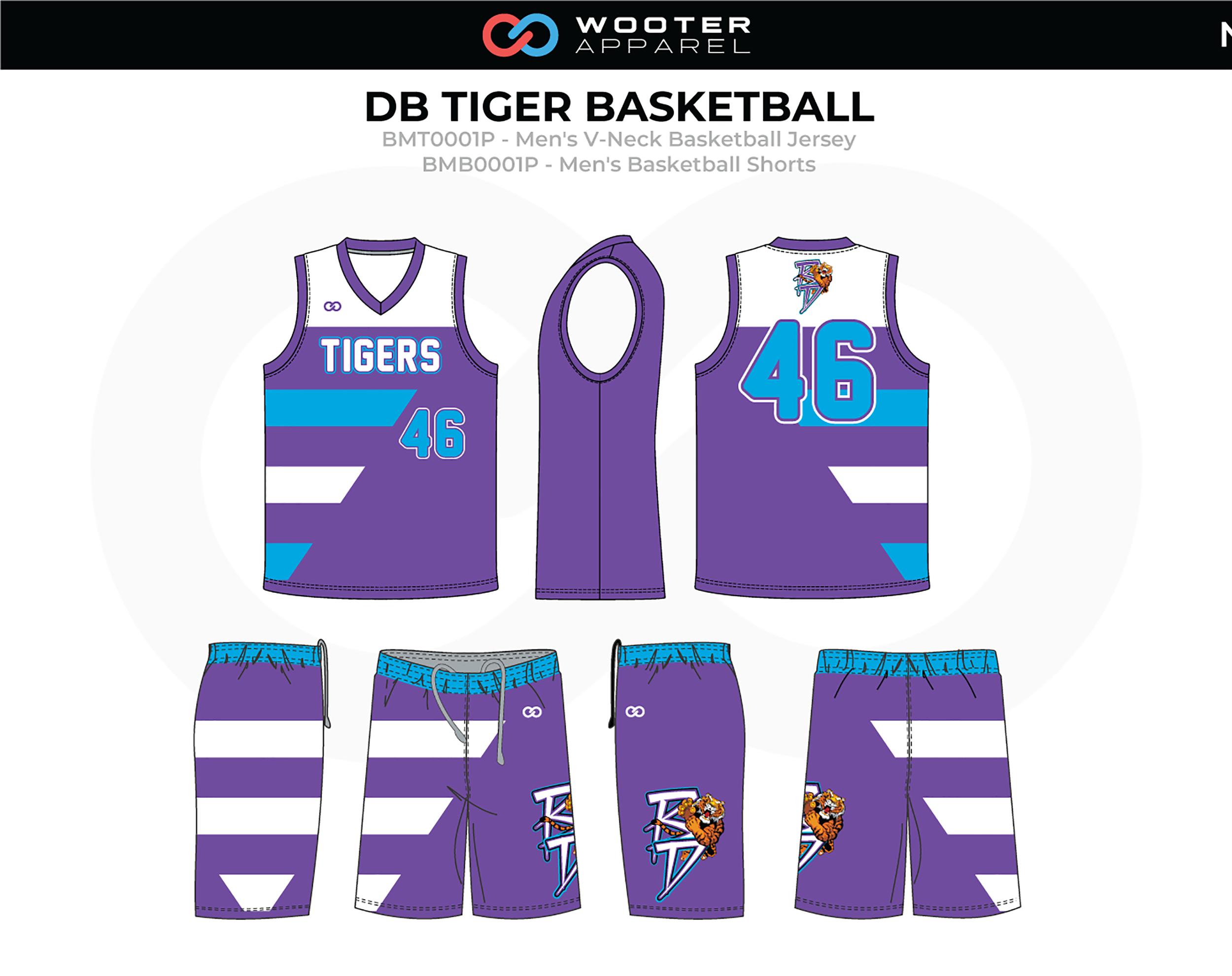 DB TIGER Lavender White Blue Men's V-Neck Basketball Uniform, Jersey and Shorts