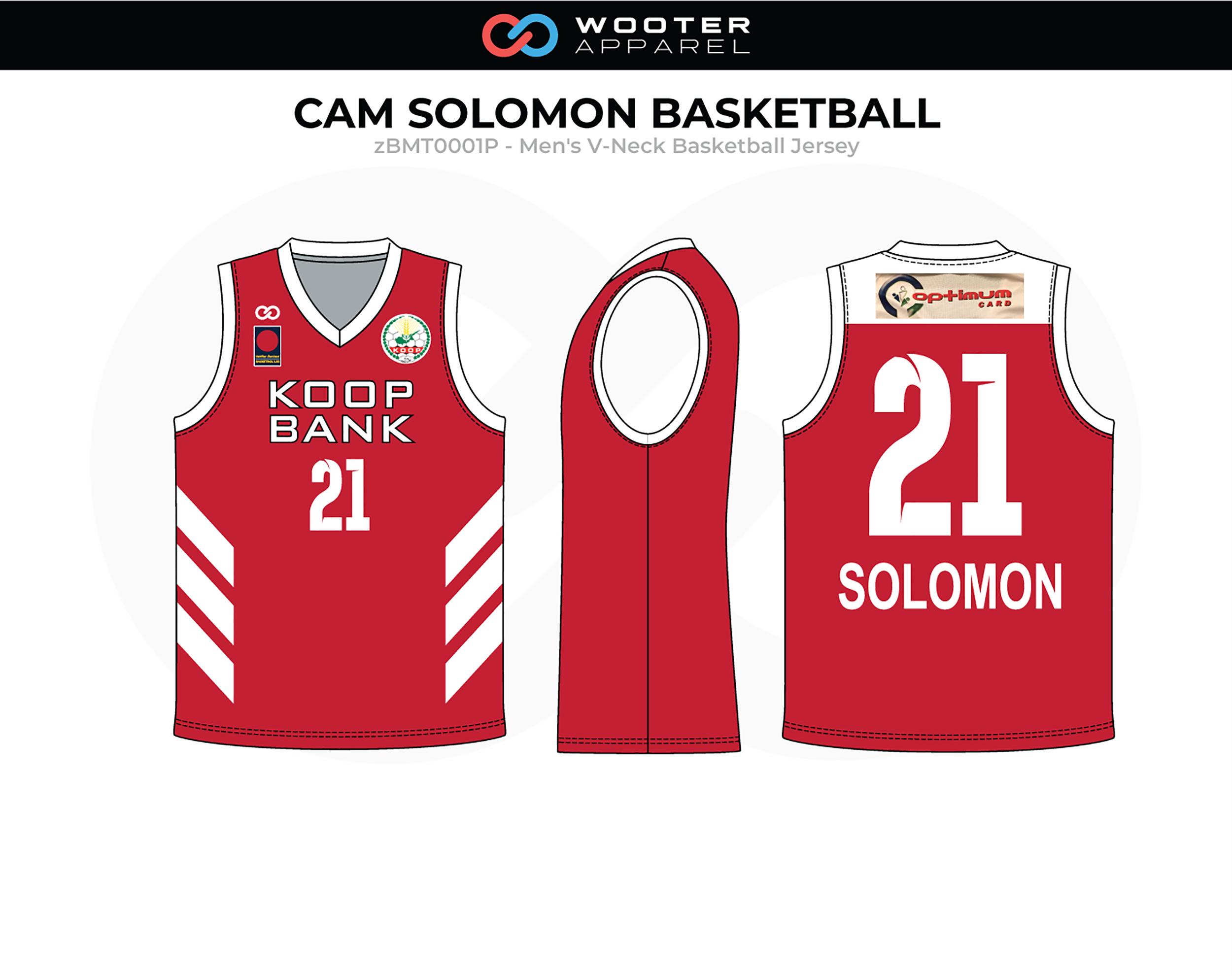 CAM SOLOMON Red White Men's V-Neck Basketball Jersey