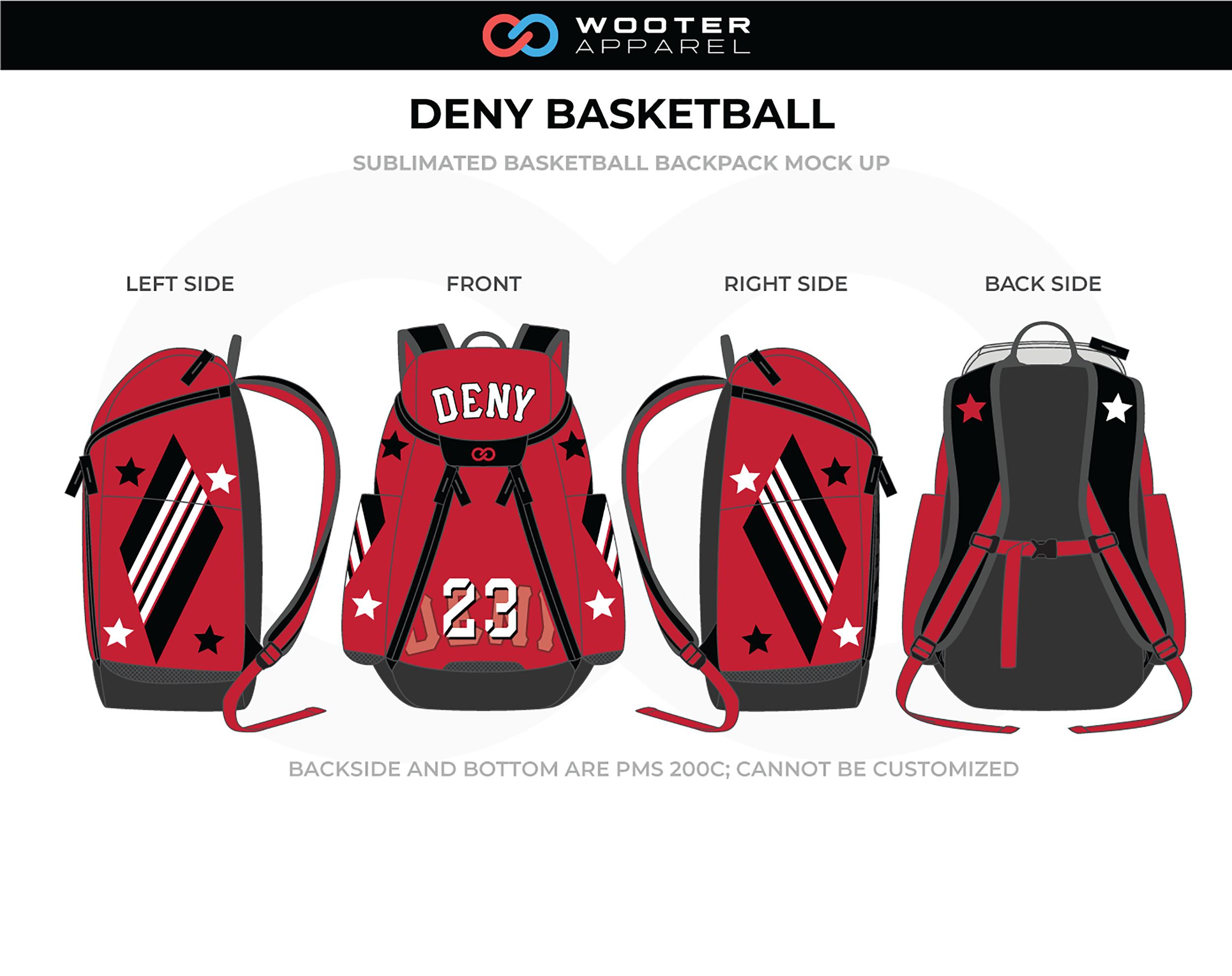 DENY Red Black White Basketball Backpack
