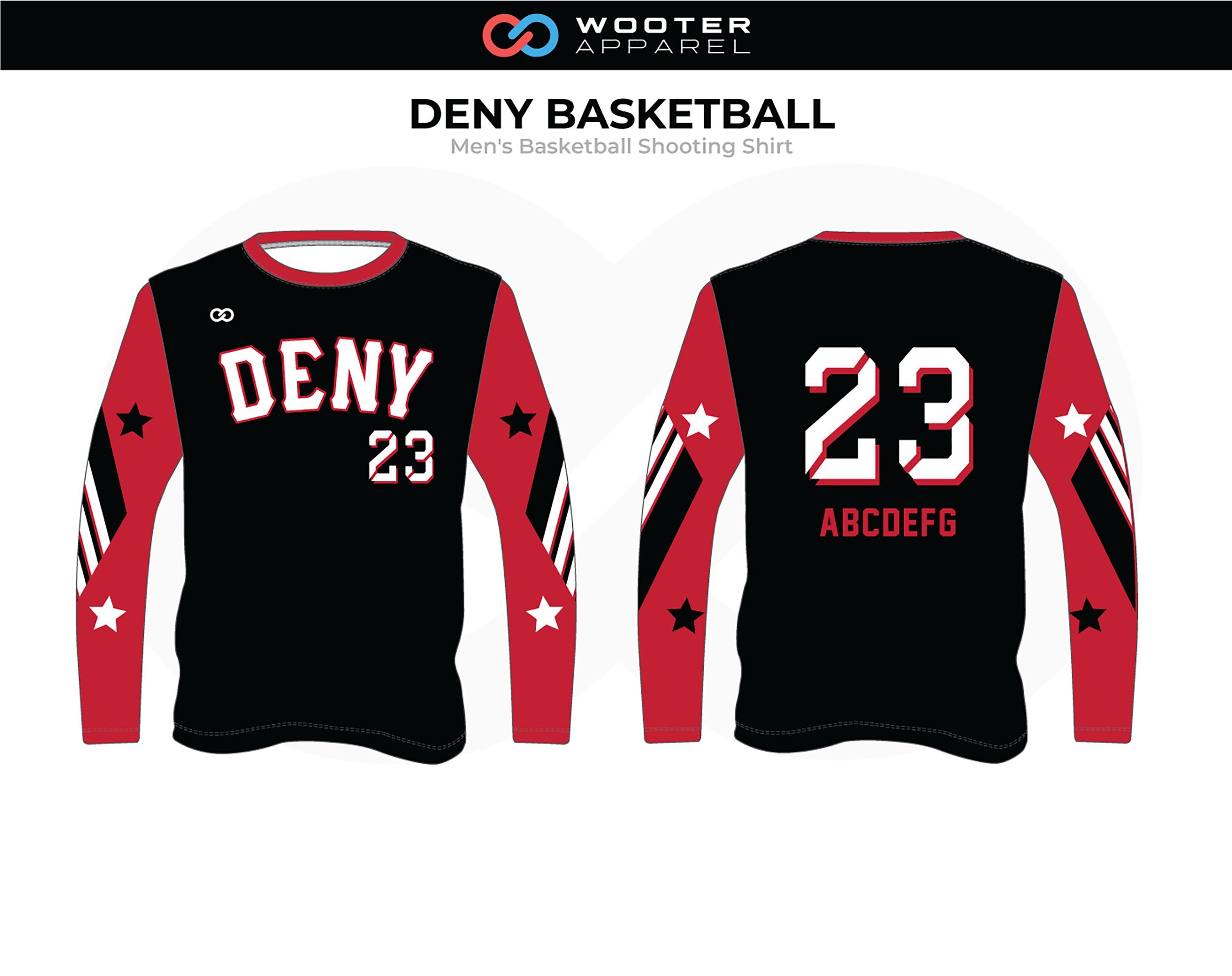 DENY Red Black White Men's Basketball Shooting Shirt