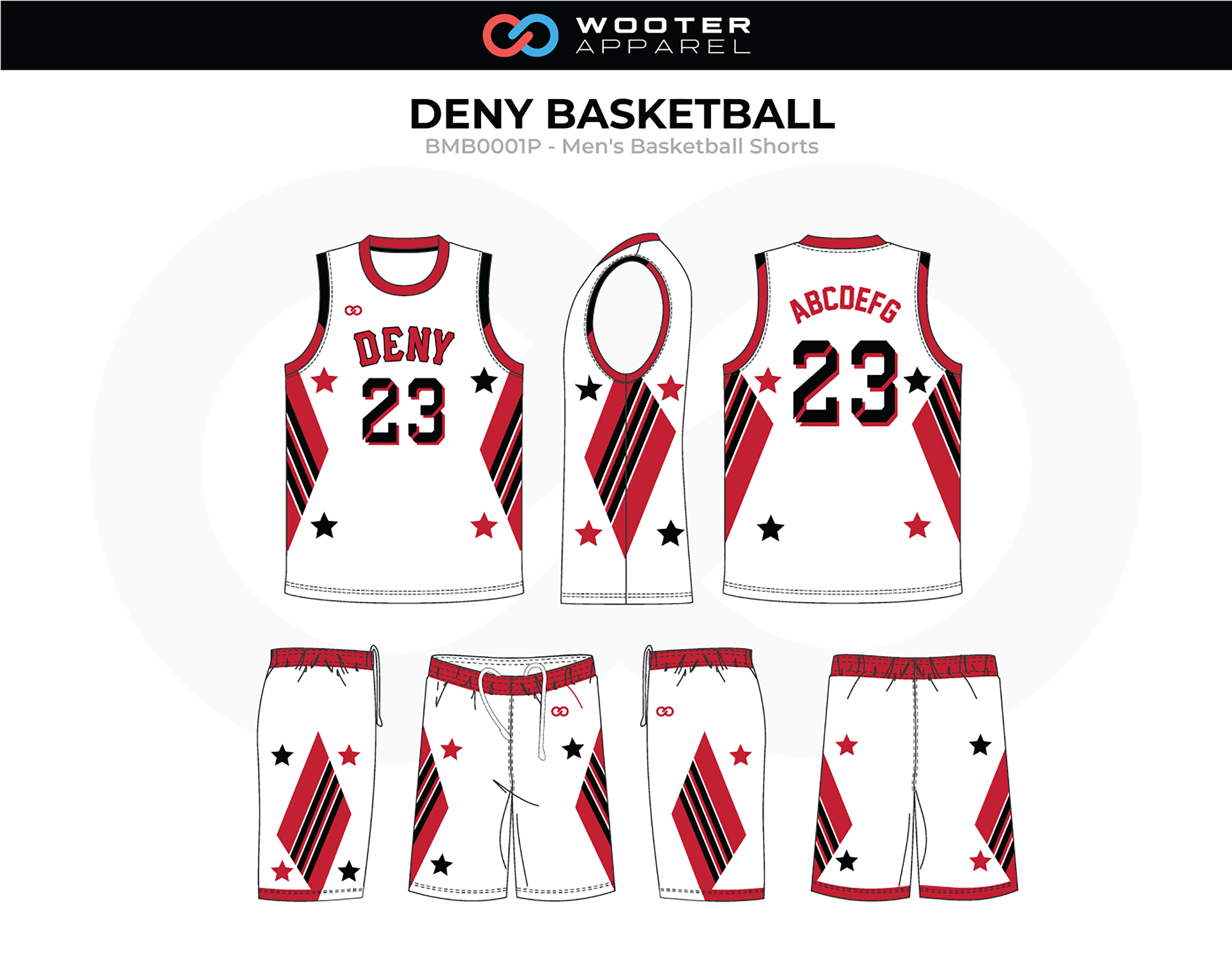 DENY White Red Black Basketball Uniform, Jersey and Shorts
