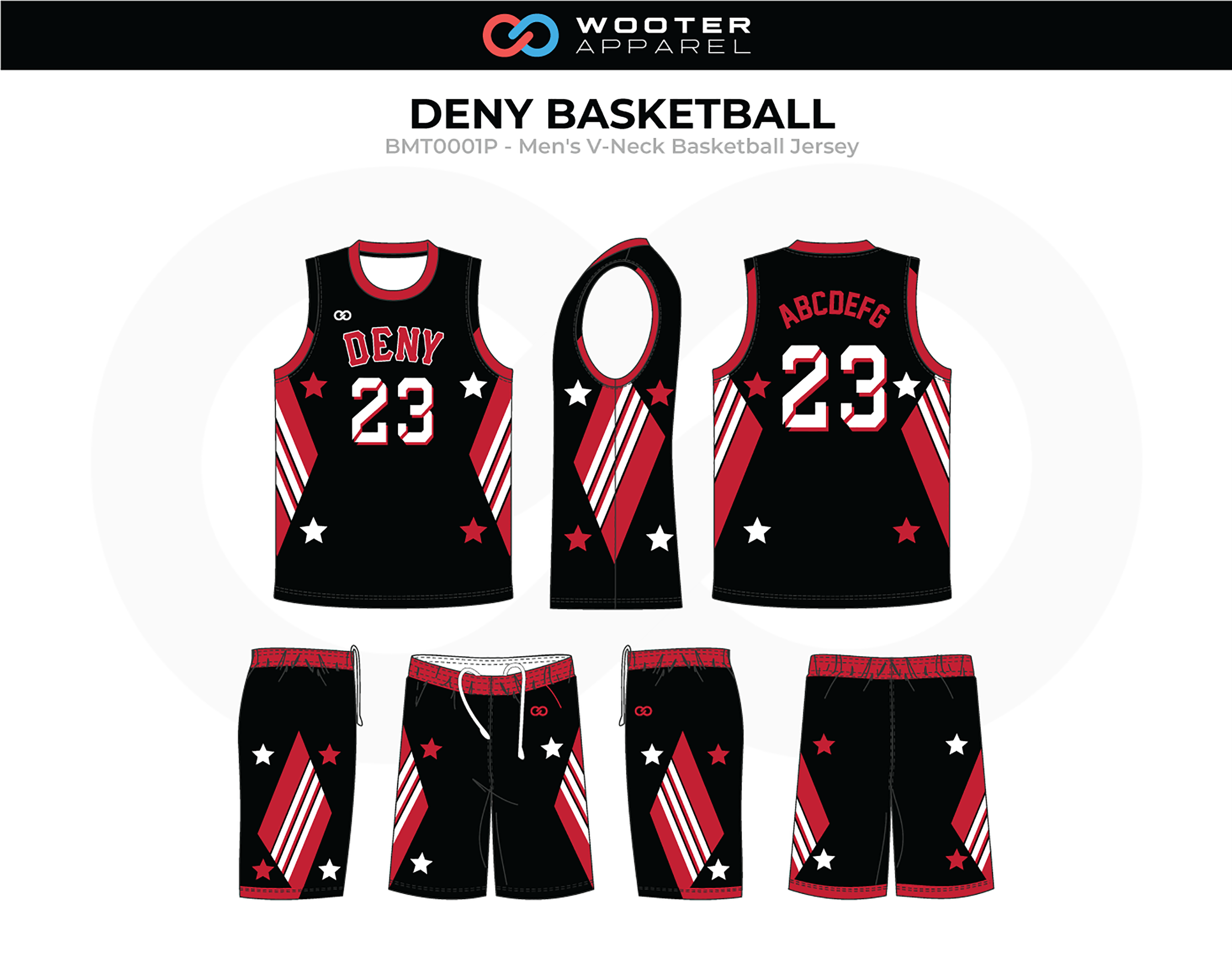 DENY Red Black White Men's V-Neck Basketball Uniform, Jersey and Shorts