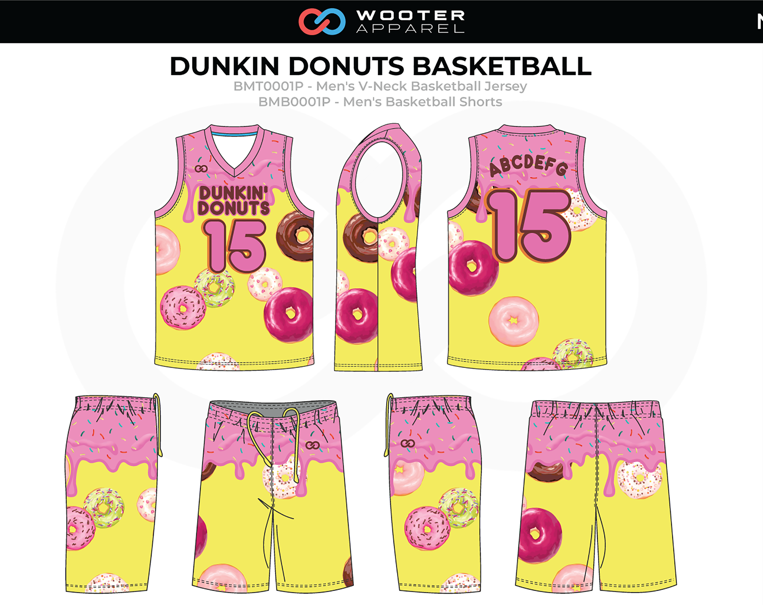 DUNKIN DONUTS Yellow Pink Brown Men's V-Neck Basketball Uniform, Jersey and Shorts