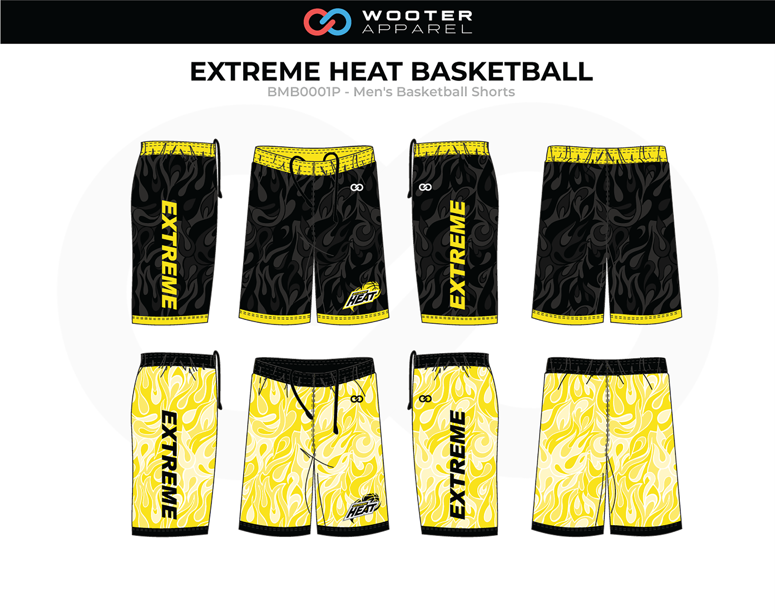 EXTREME HEAT Yellow Black White Men's Basketball Shorts