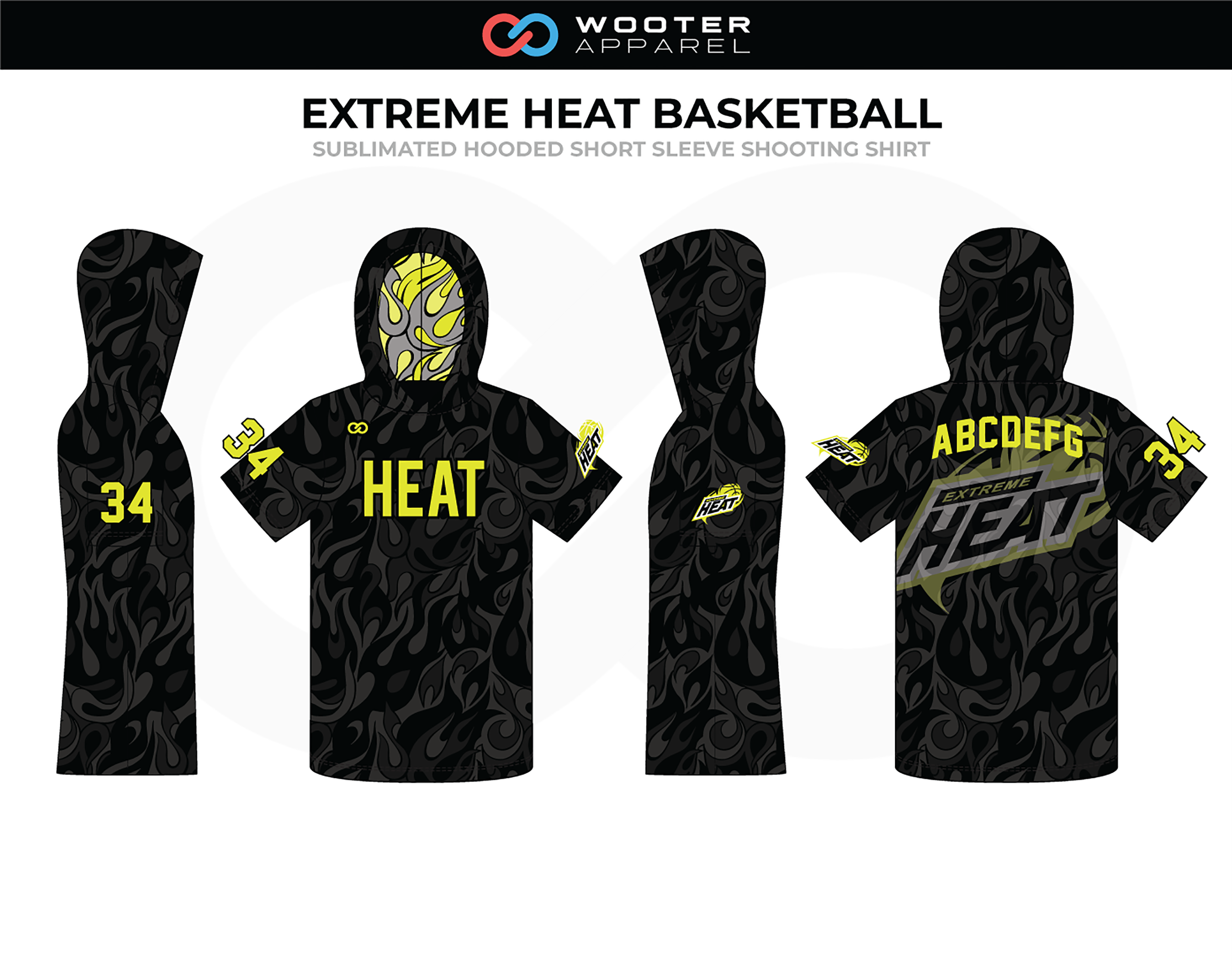EXTREME HEAT Black Yellow Grey Basketball Hooded Short Sleeve Shooting Shirt