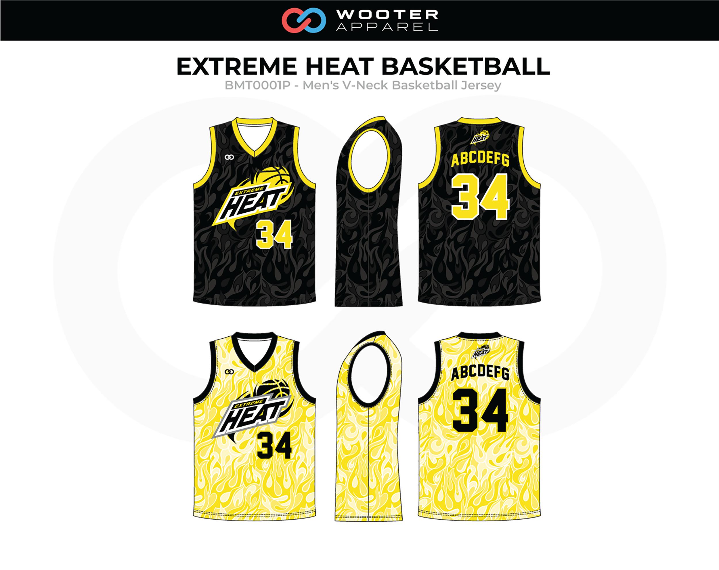 EXTREME HEAT Yellow Black White Grey Basketball Jerseys