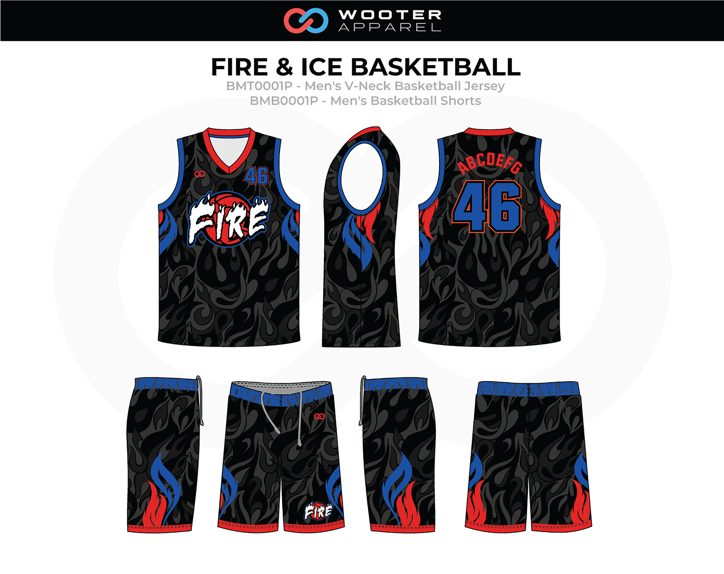 FIRE AND ICE Blue Red Black Grey White Men's V-Neck Basketball Jersey and Shorts