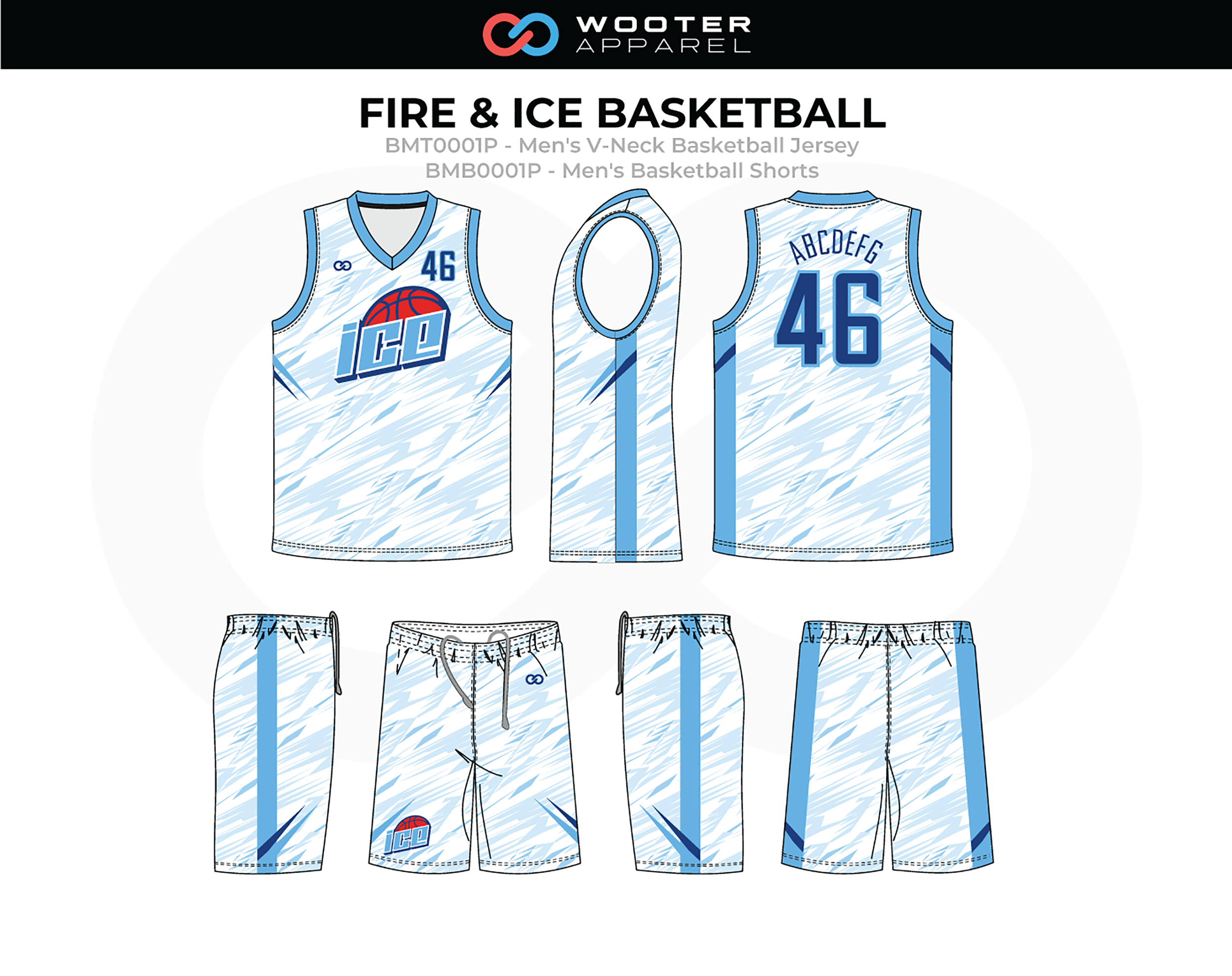 FIRE AND ICE Blue Red White Men's V-Neck Basketball Jersey and Shorts