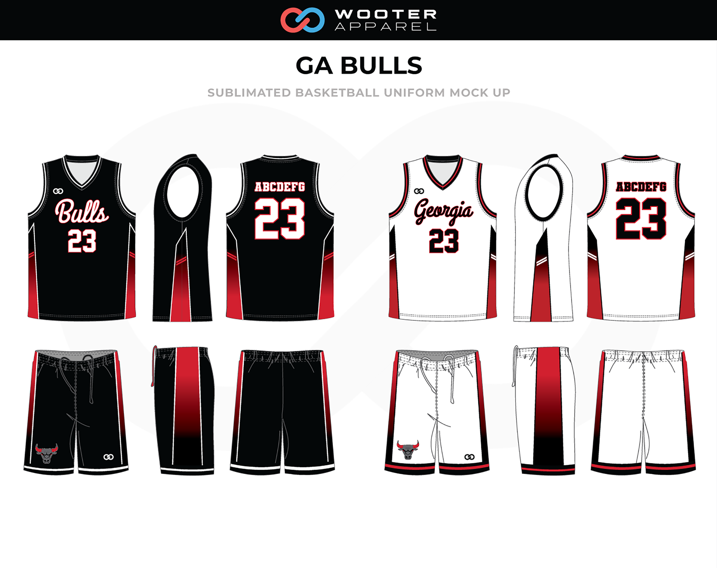 GA BULLS Red Black White Basketball Uniform, Jersey and Shorts