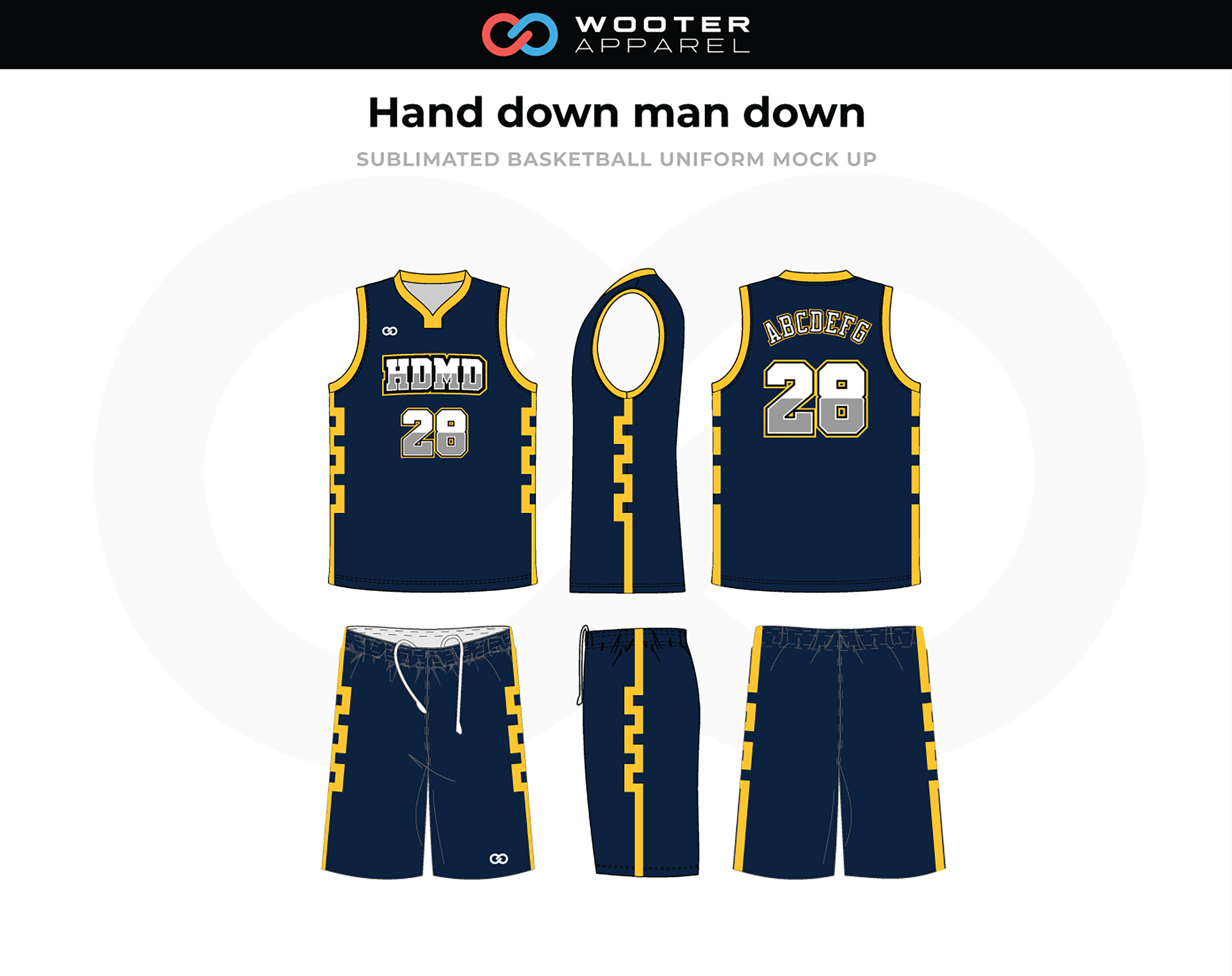 HAND DOWN MAN DOWN Blue Yellow White Basketball Uniform, Jersey and Shorts