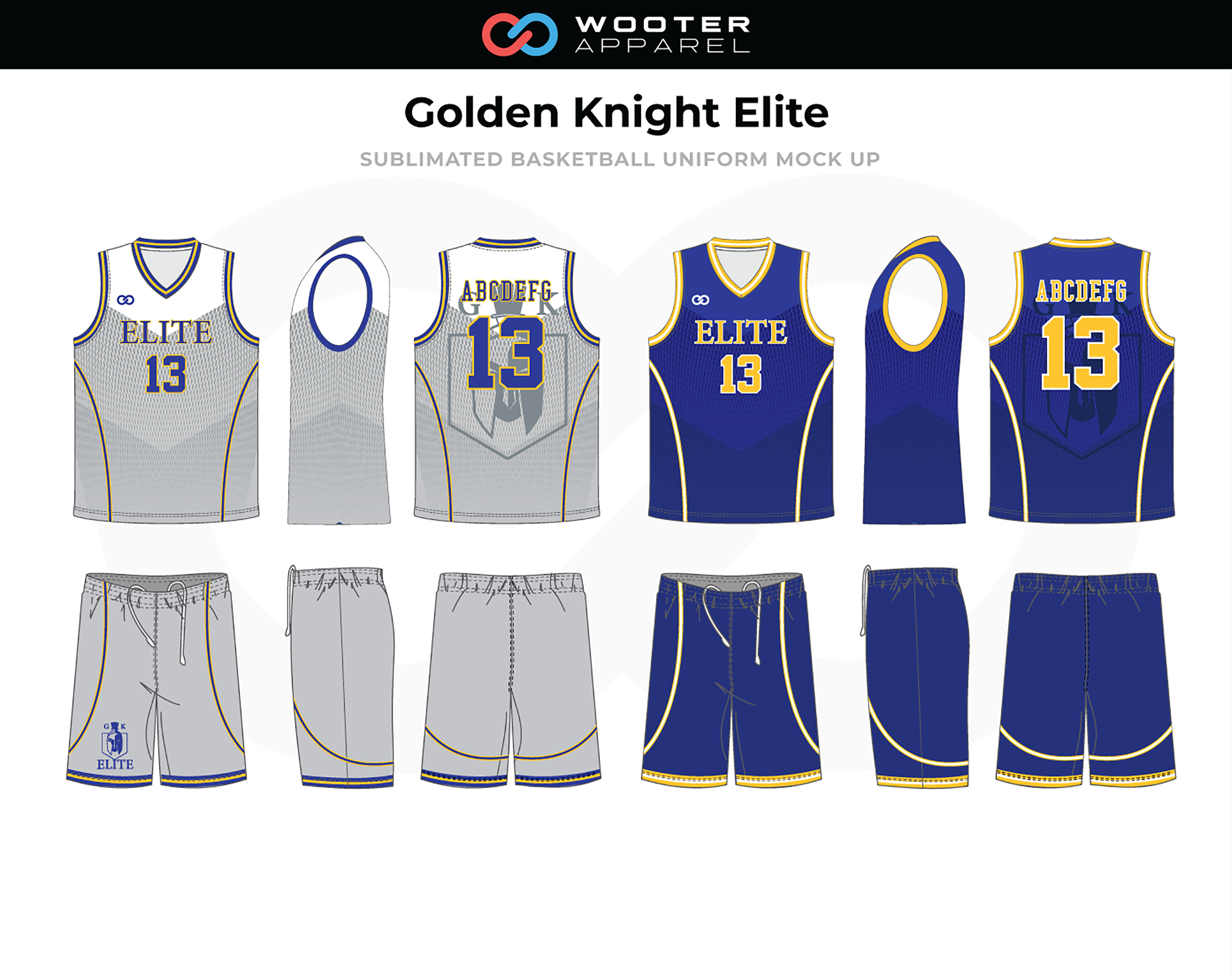 GOLDEN KNIGHT ELITE Blue White Grey Yellow Basketball Uniform, Jersey and Shorts