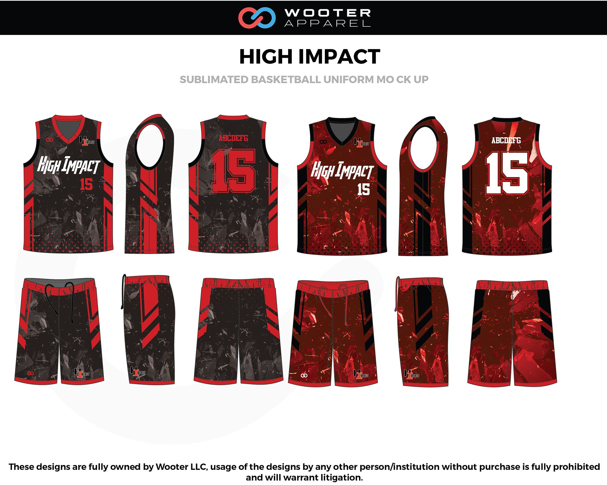 HIGH IMPACT Red Black Grey White Basketball Uniform, Jersey and Shorts