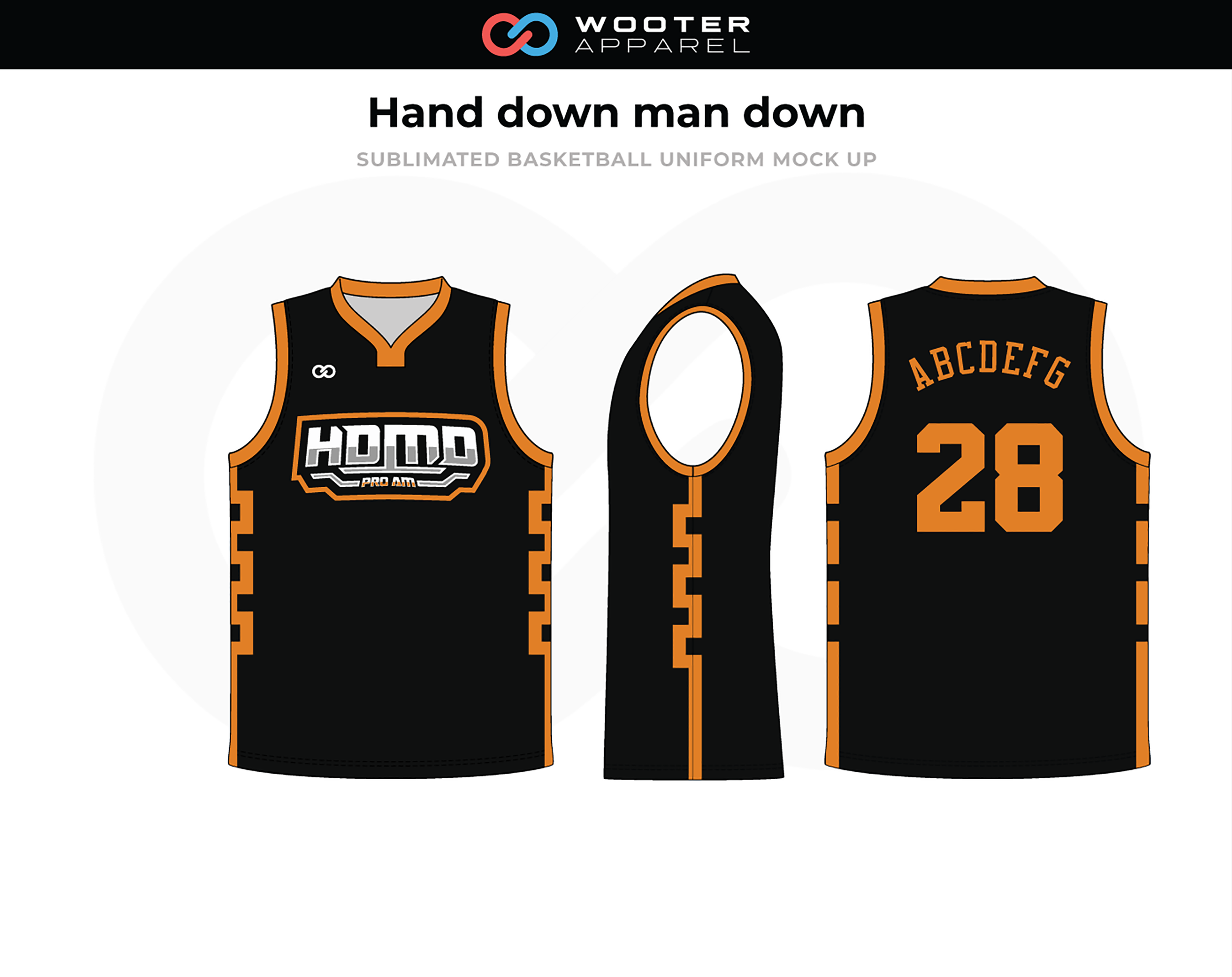 HAND DOWN MAN DOWN Black Orange White Basketball Jersey
