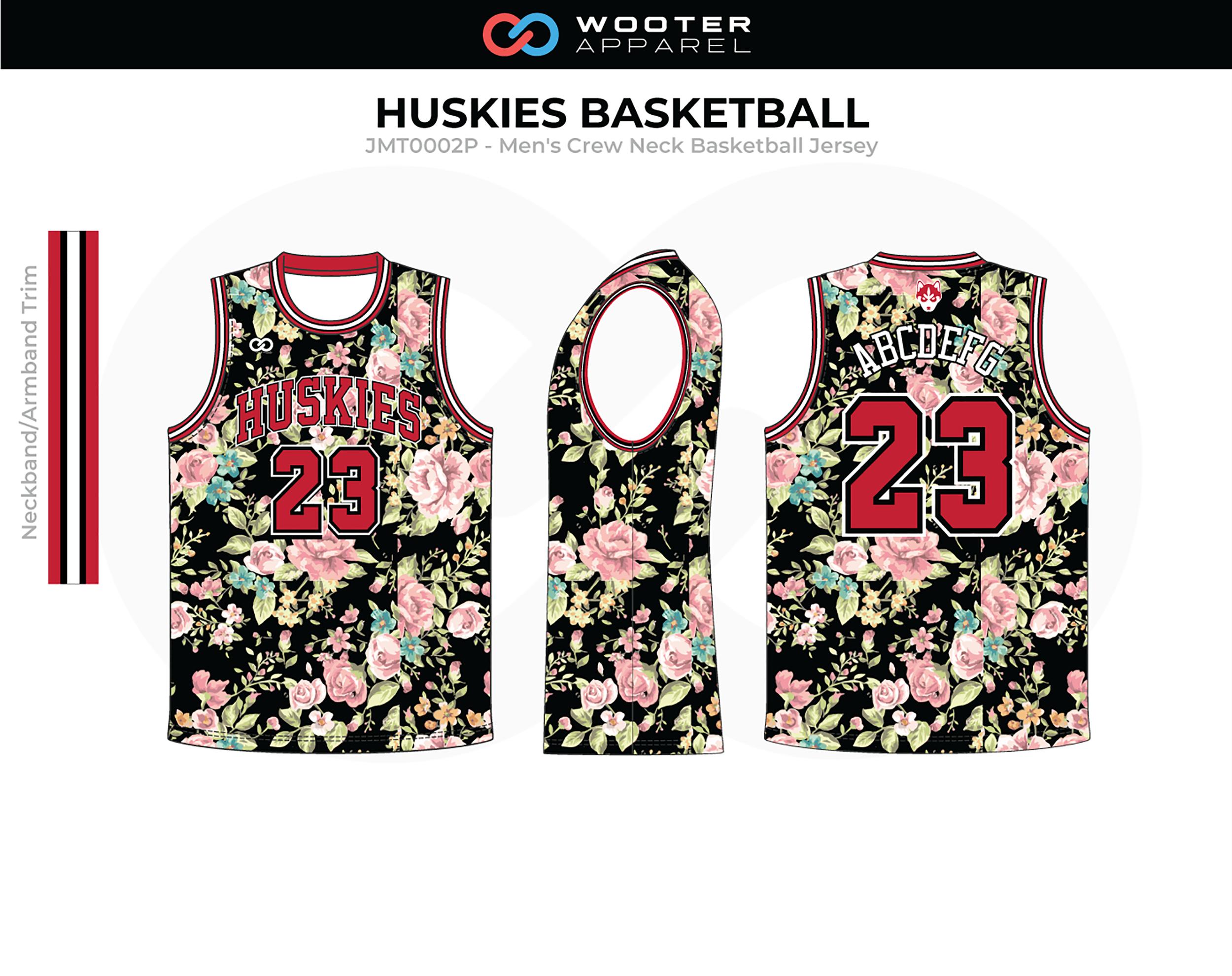HUSKIES Pink Green Black Red Men's Crew Neck Basketball Jersey