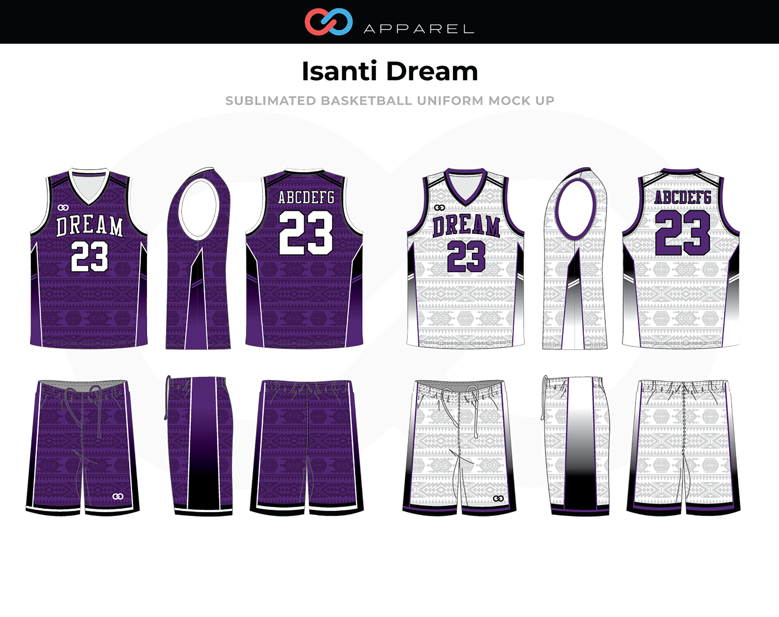 ISANTI DREAM Purple White Black Basketball Uniform, Jersey and Shorts
