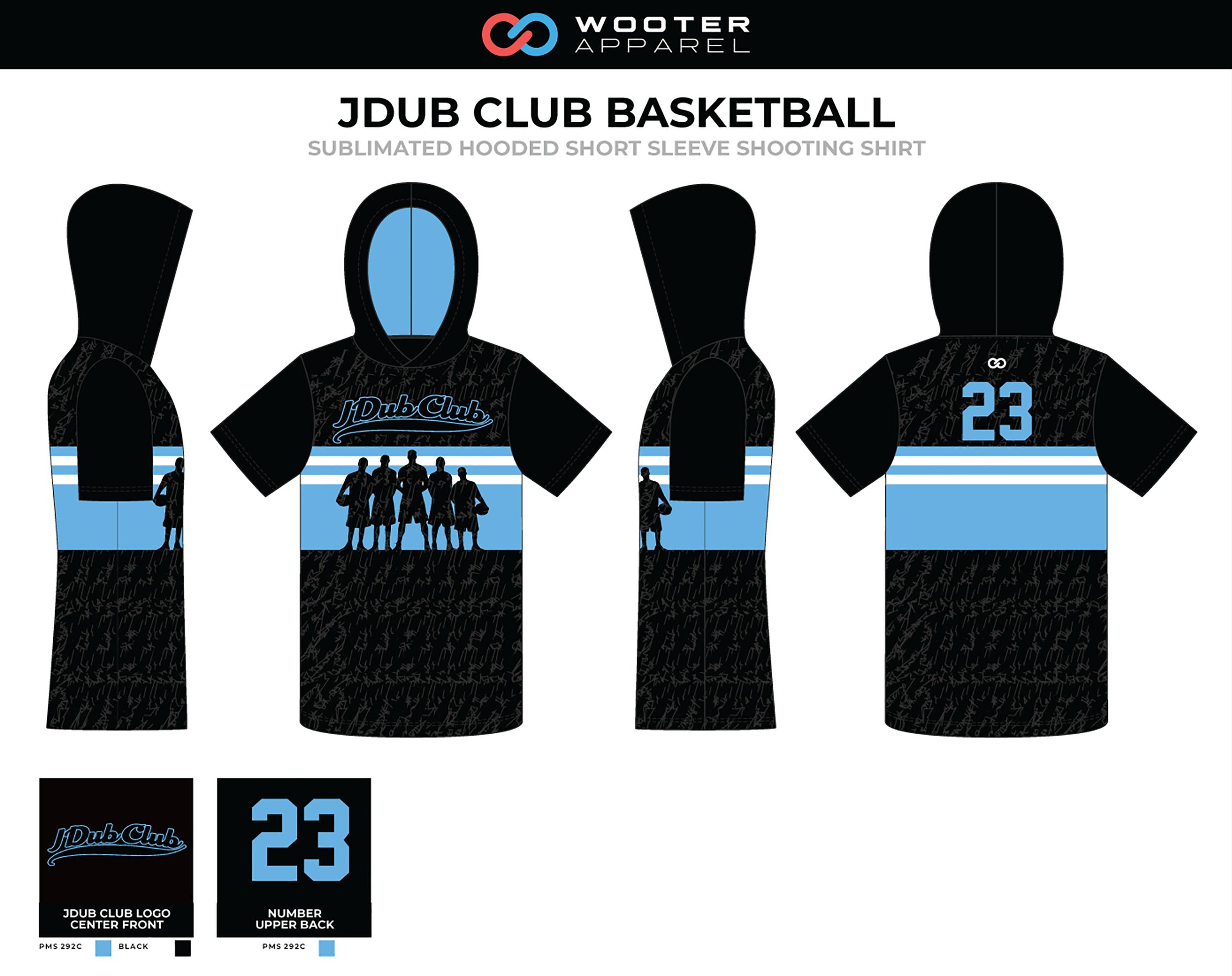 JDUB CLUB Black Blue White Basketball Hooded Short Sleeve Shooting Shirt