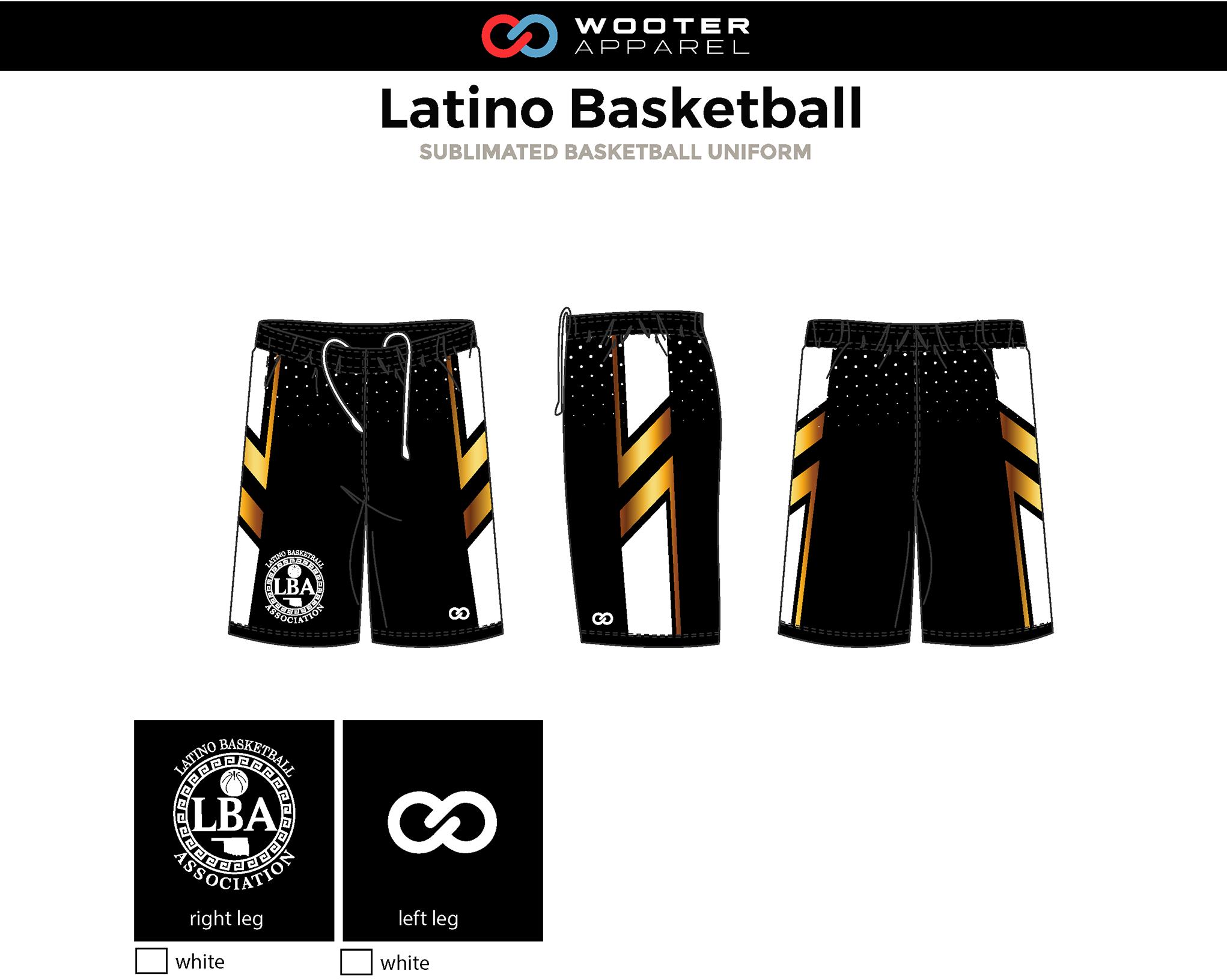 LATINO Black White Yellow Gold Basketball Shorts