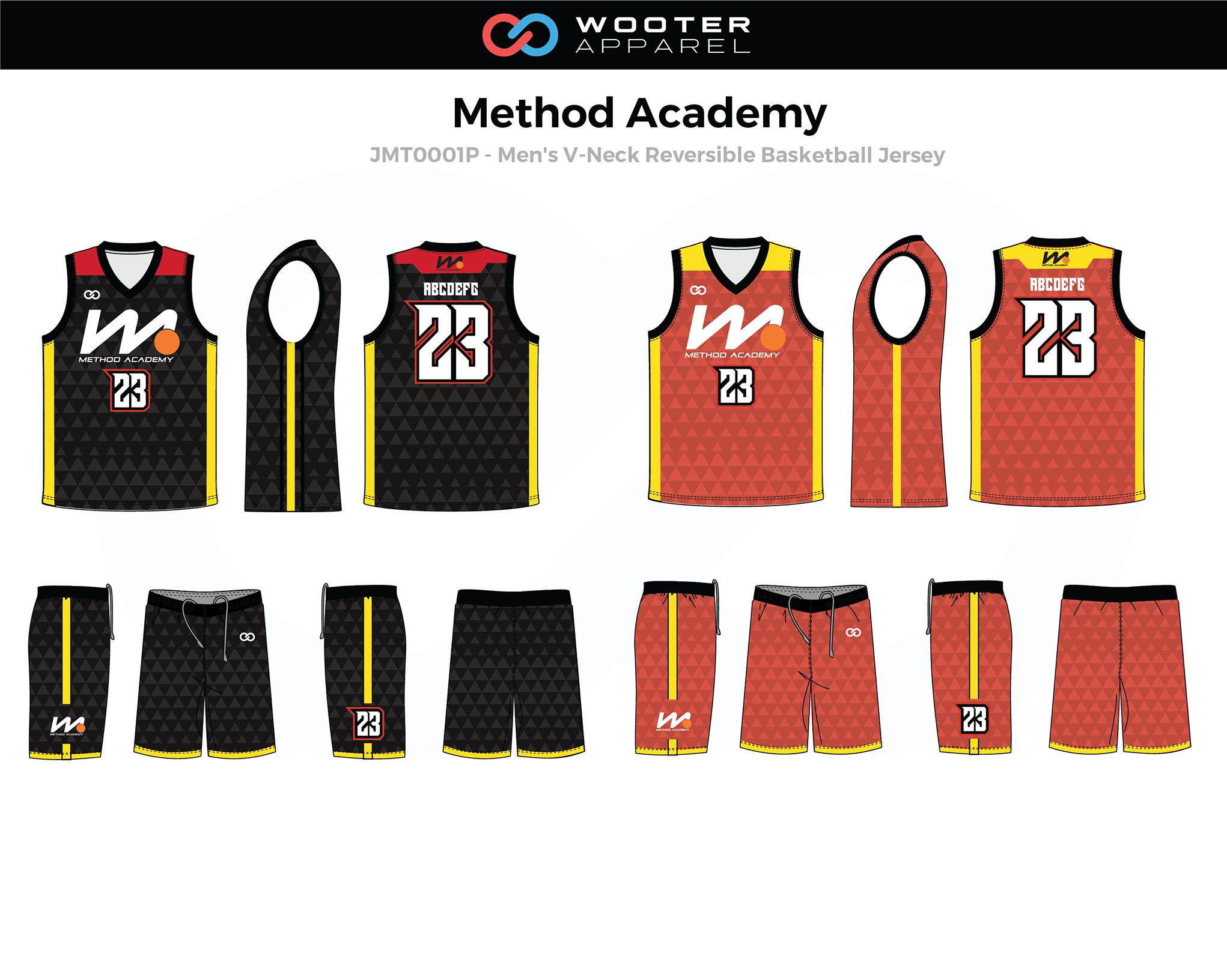 METHOD ACADEMY Orange Black Yellow White Men's Basketball V-Neck Reversible Jersey and Shorts