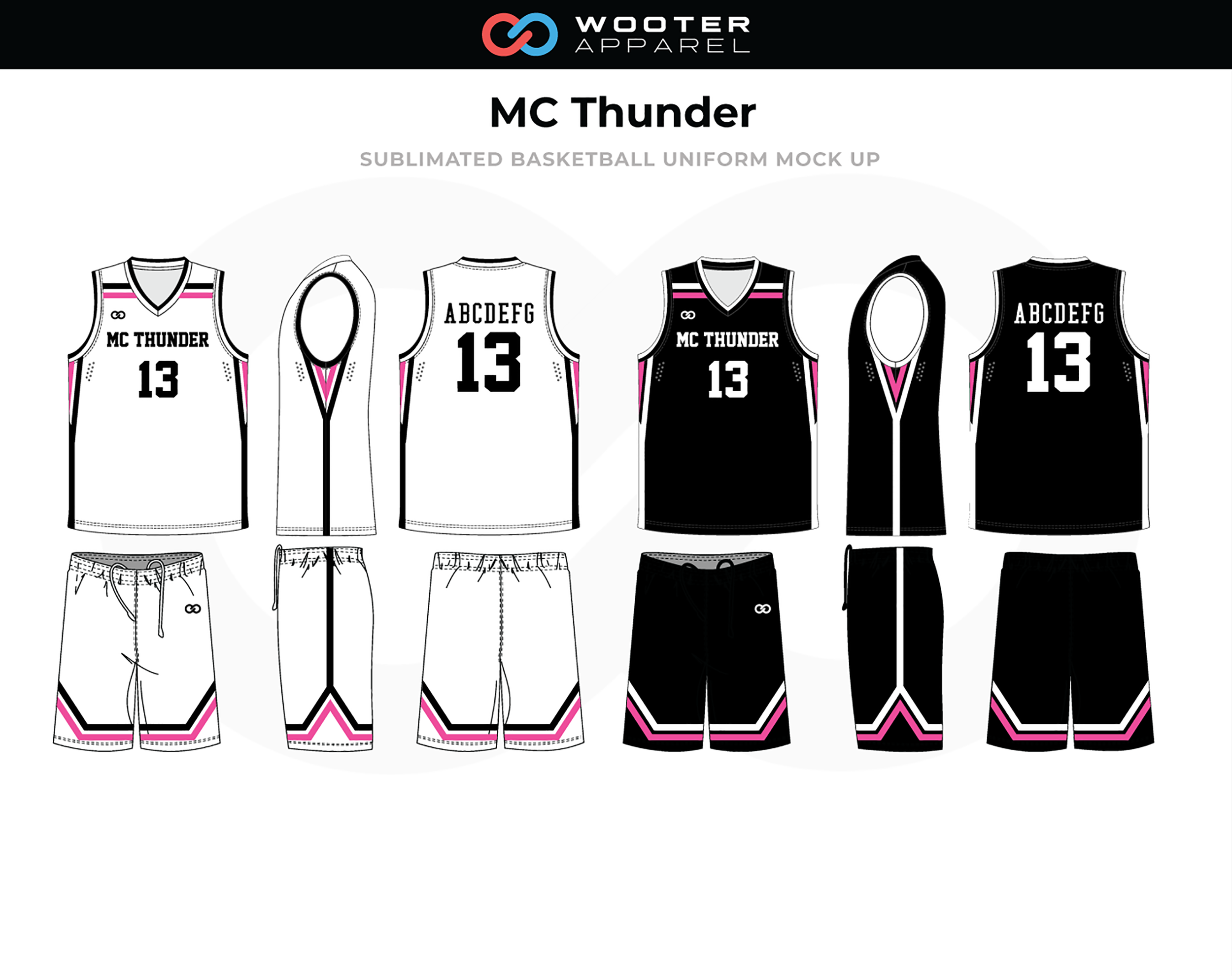 MC THUNDER Black White Red Basketball Uniform, Jersey and Shorts
