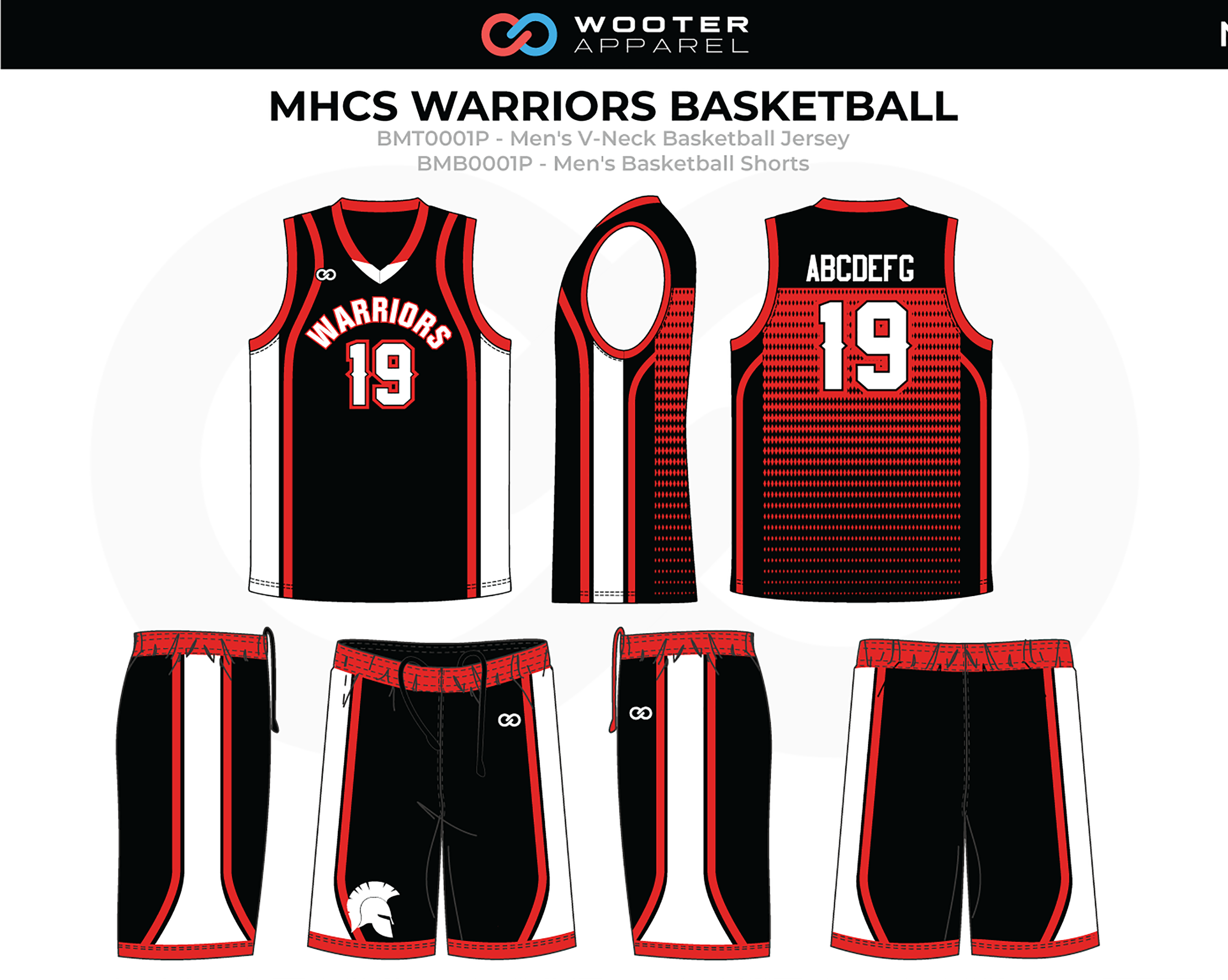 MHCS WARRIORS Red Black White Men's V-Neck Basketball Uniform, Jersey and Shorts