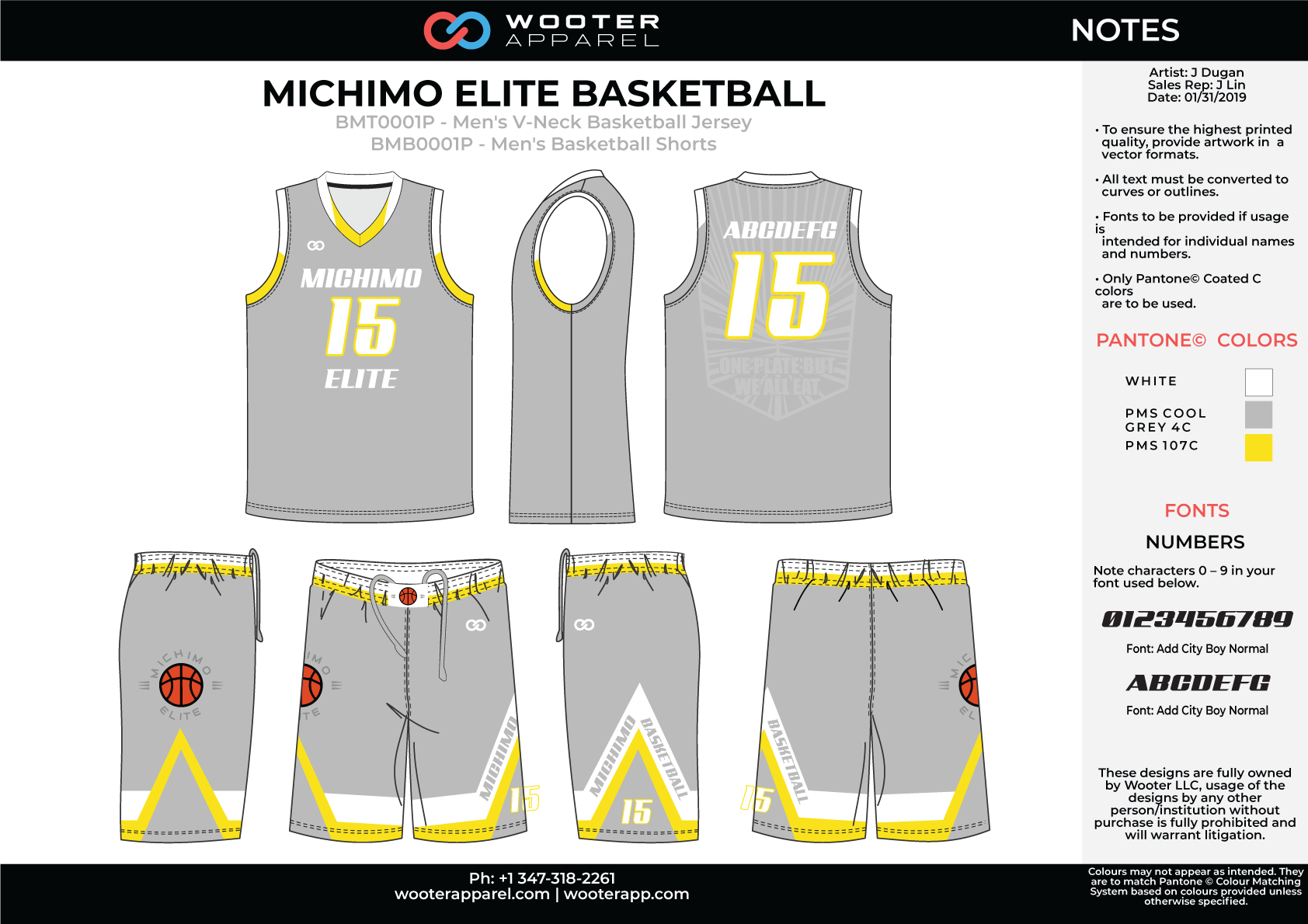 MICHIMO ELITE Grey Yellow White Men's V-Neck Basketball Uniform, Jersey and Shorts