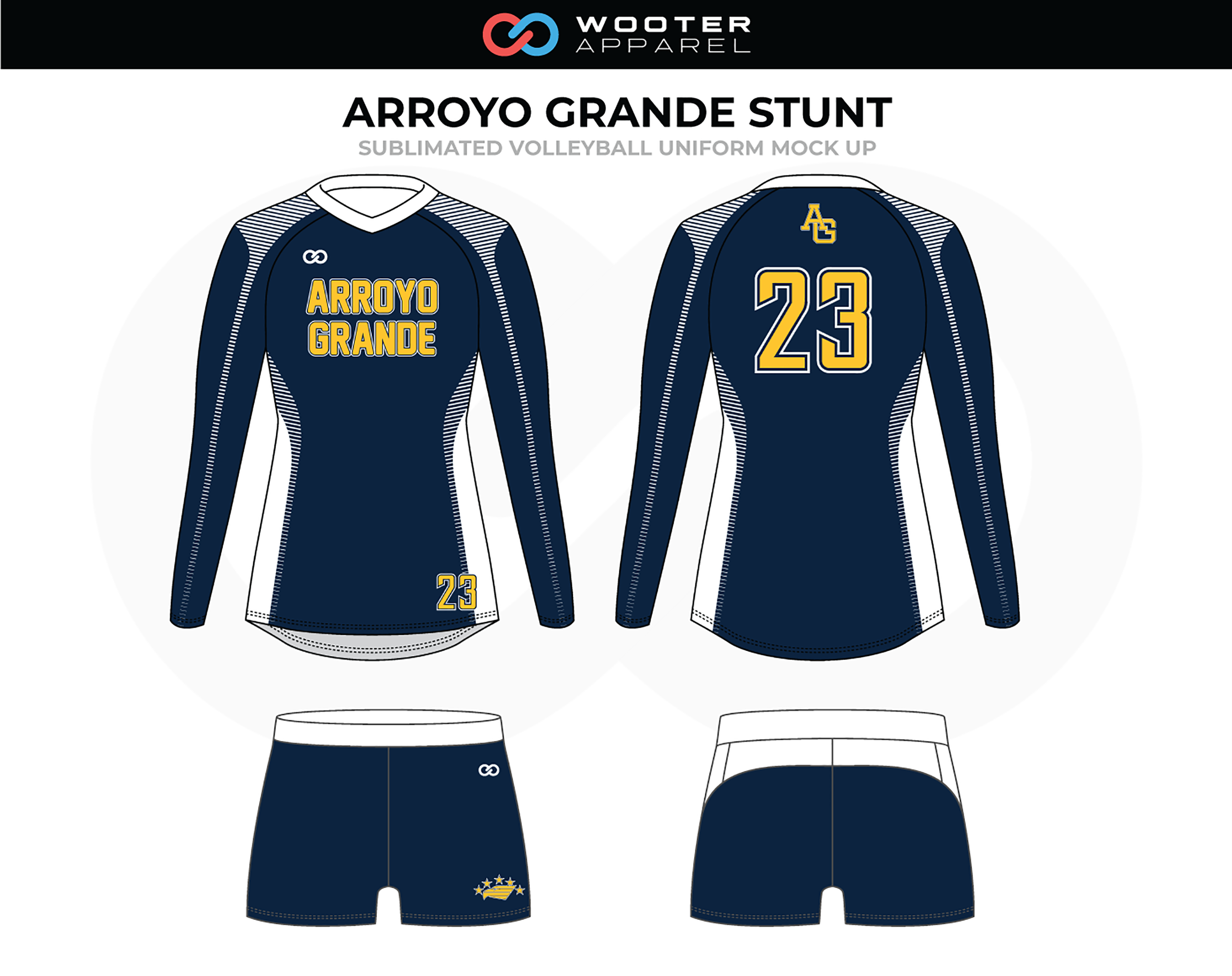 ARROYO GRANDE STUNT Blue Yellow Volleyball Uniform, Long Sleeved and Shorts