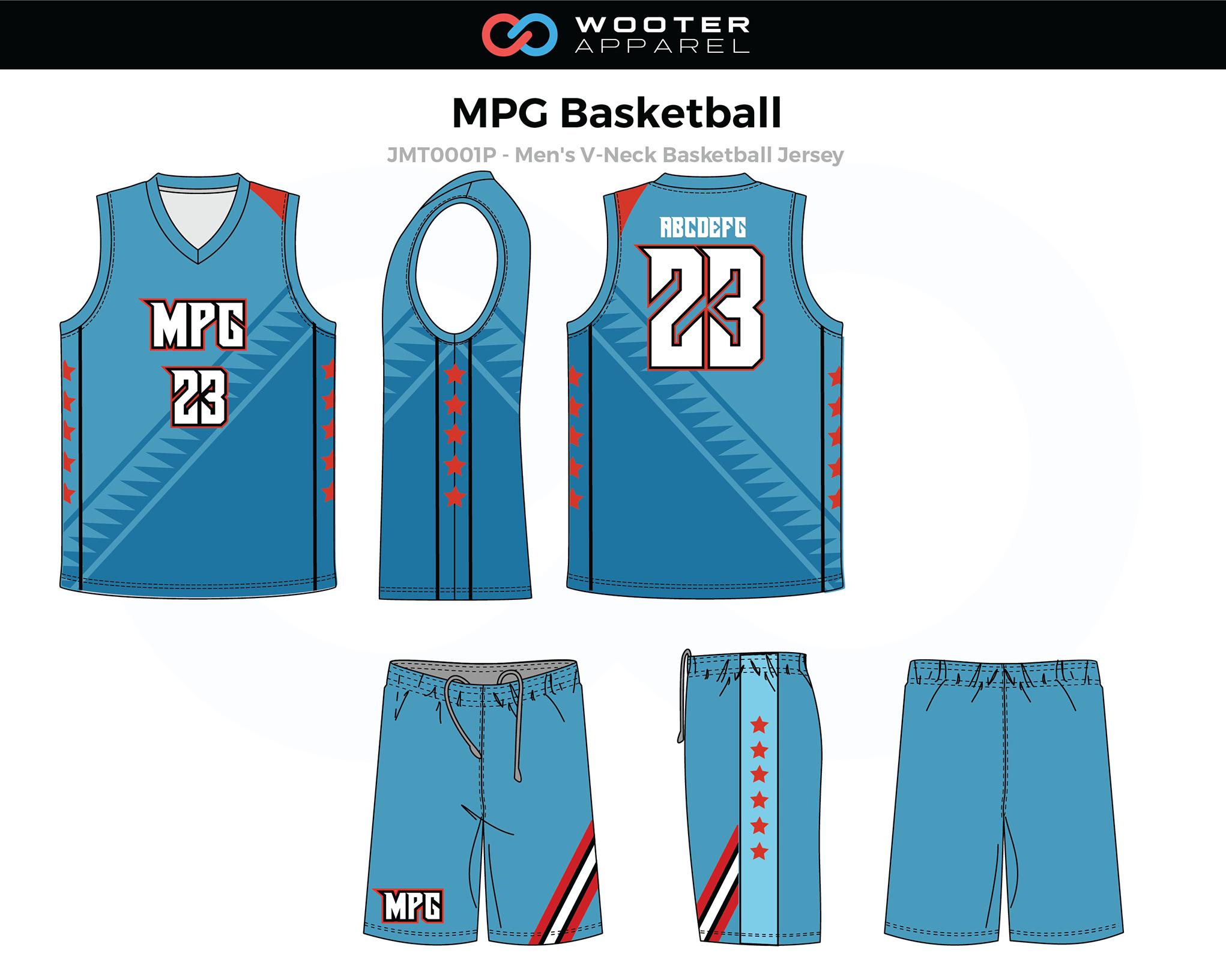 MPG Blue Red Men's V-Neck Basketball Uniform, Jersey and Shorts