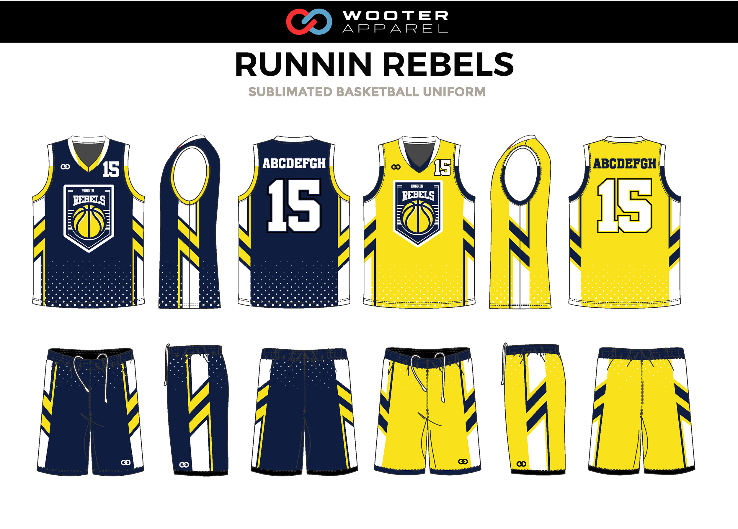 RUNNIN REBELS Yellow Blue White Basketball Uniform, Jersey and Shorts