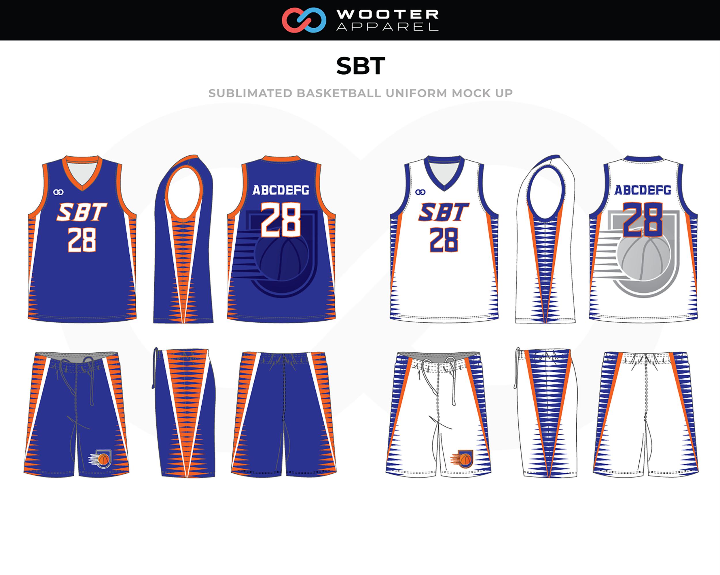 SBT Blue White Orange Blue Basketball Uniform, Jersey and Shorts