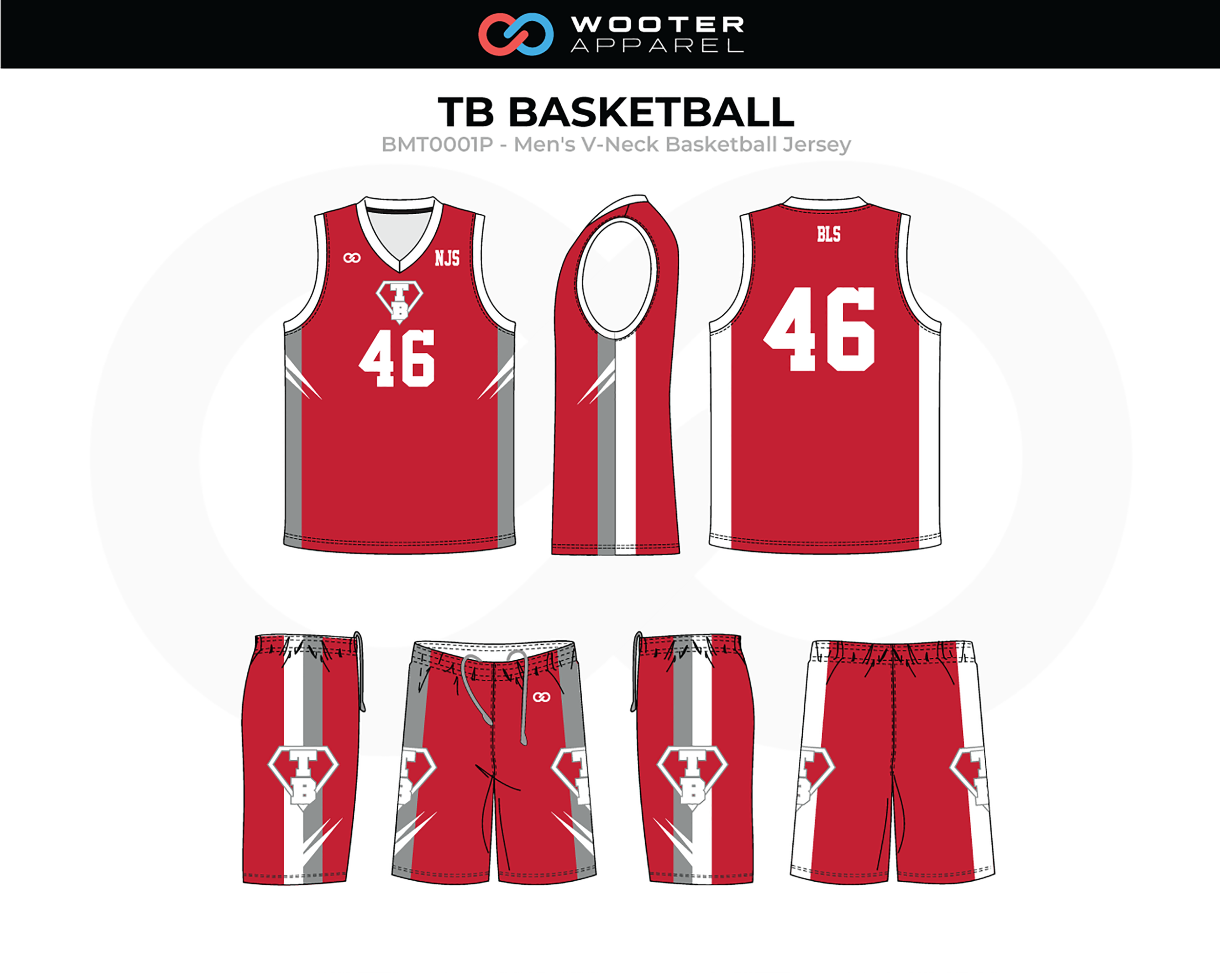 TB Red White Gray Men's V-Neck Basketball Uniform, Jersey and Shorts