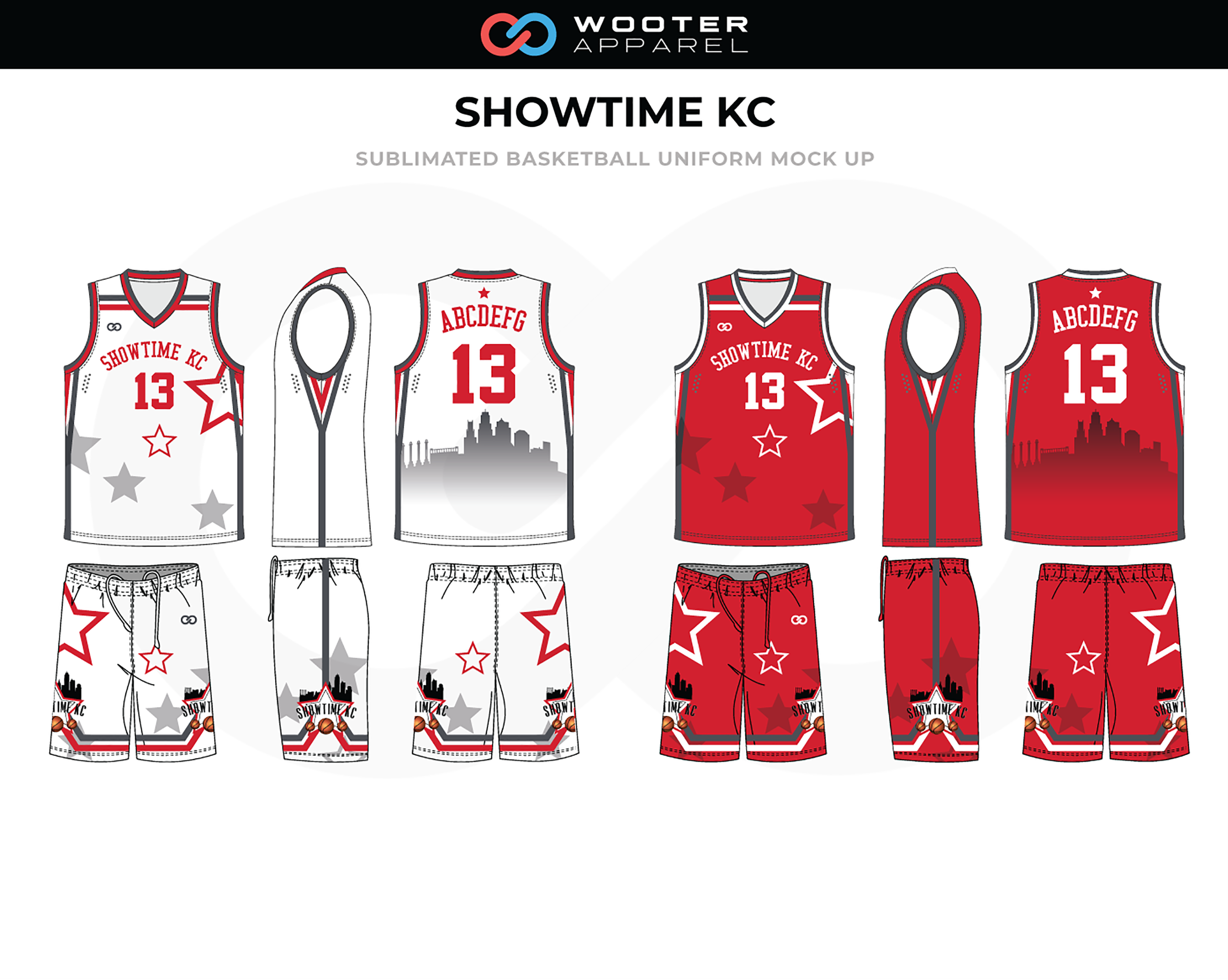 SHOWTIME KC Red White Black Basketball Uniform, Jersey and Shorts