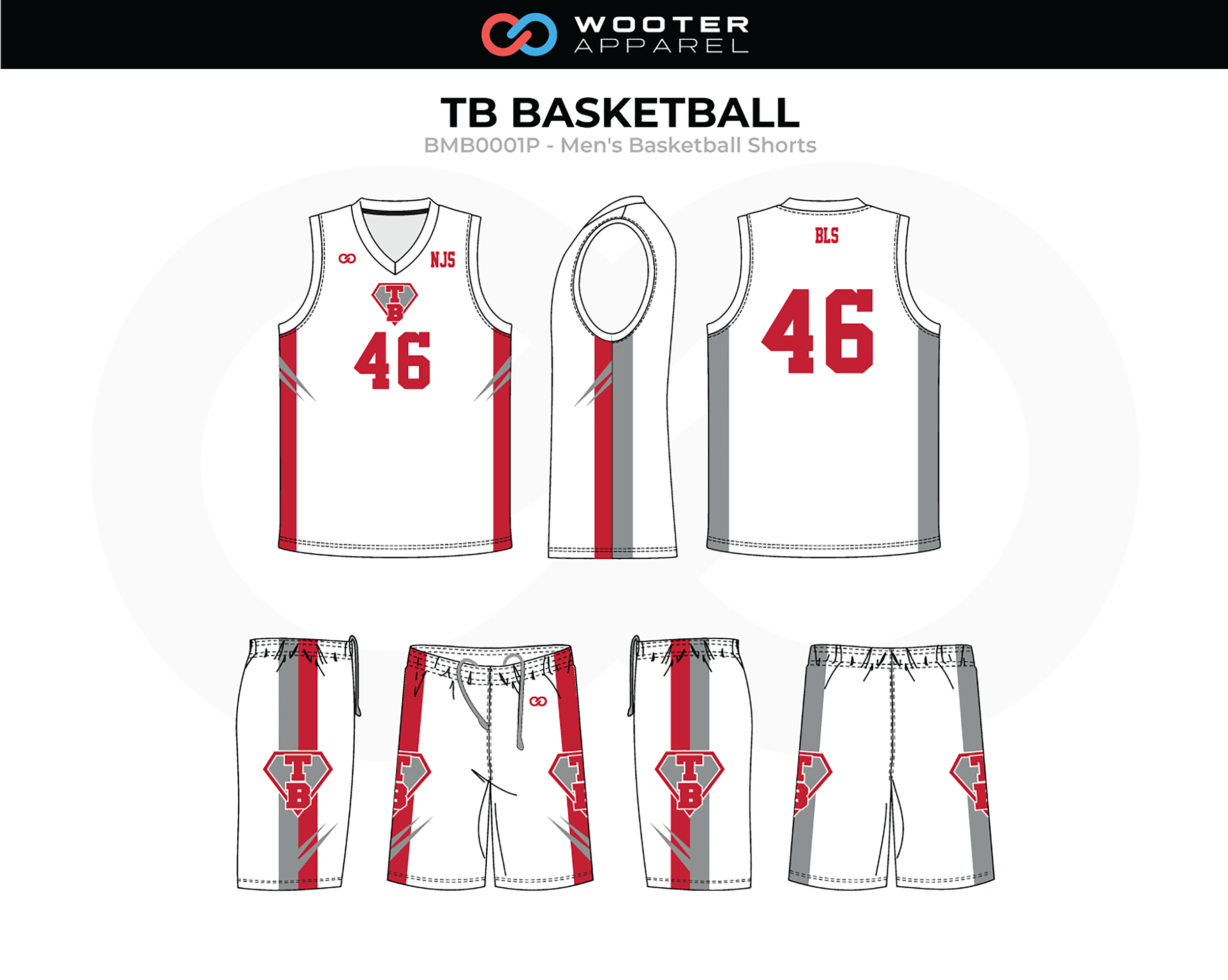 TB Red White Gray Basketball Uniform, Jersey and Shorts