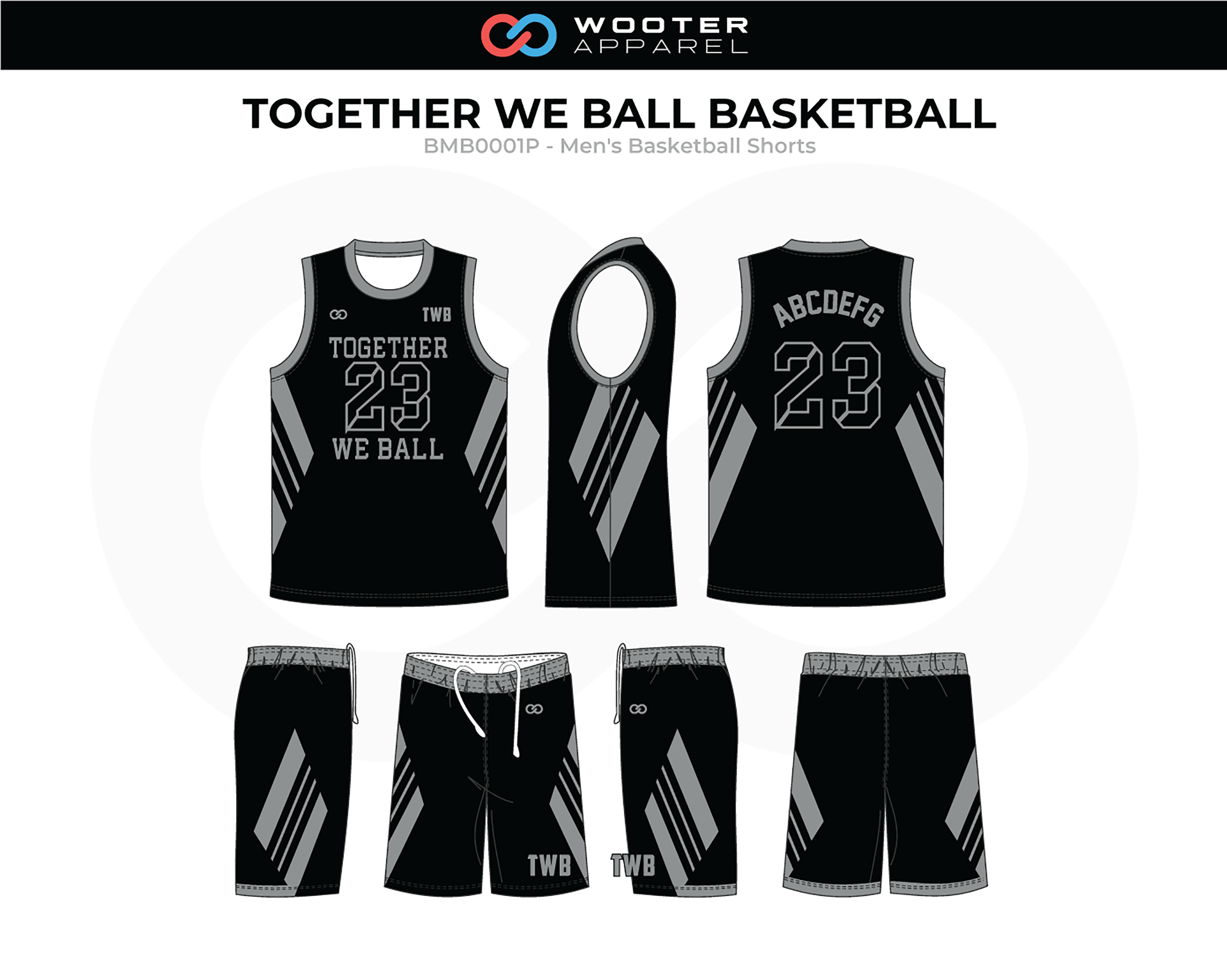 TOGETHER WE BALL Black Grey Men's Basketball Uniform, Jersey and Shorts