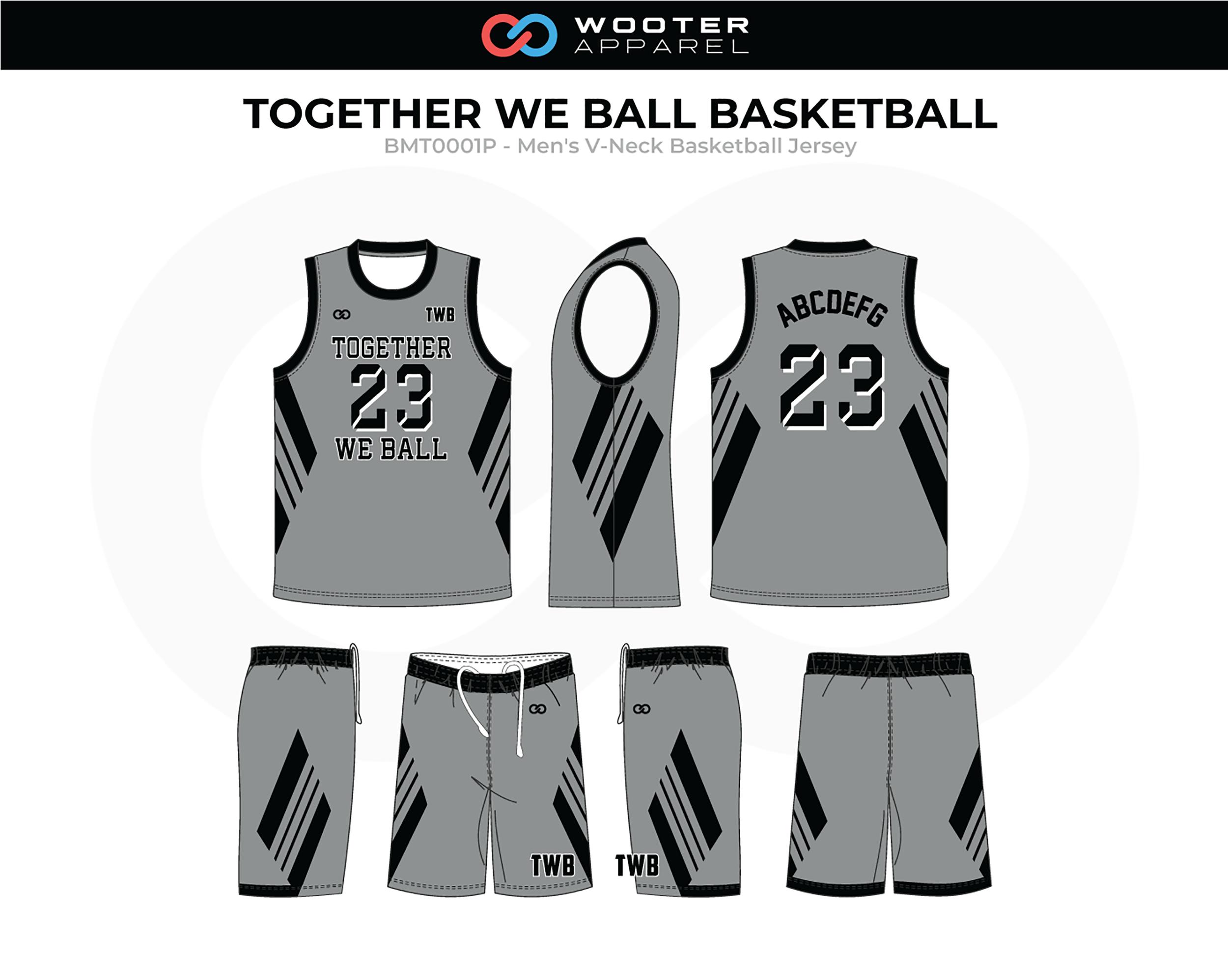 TOGETHER WE BALL Black Grey Men's V-Neck Basketball Uniform, Jersey and Shorts
